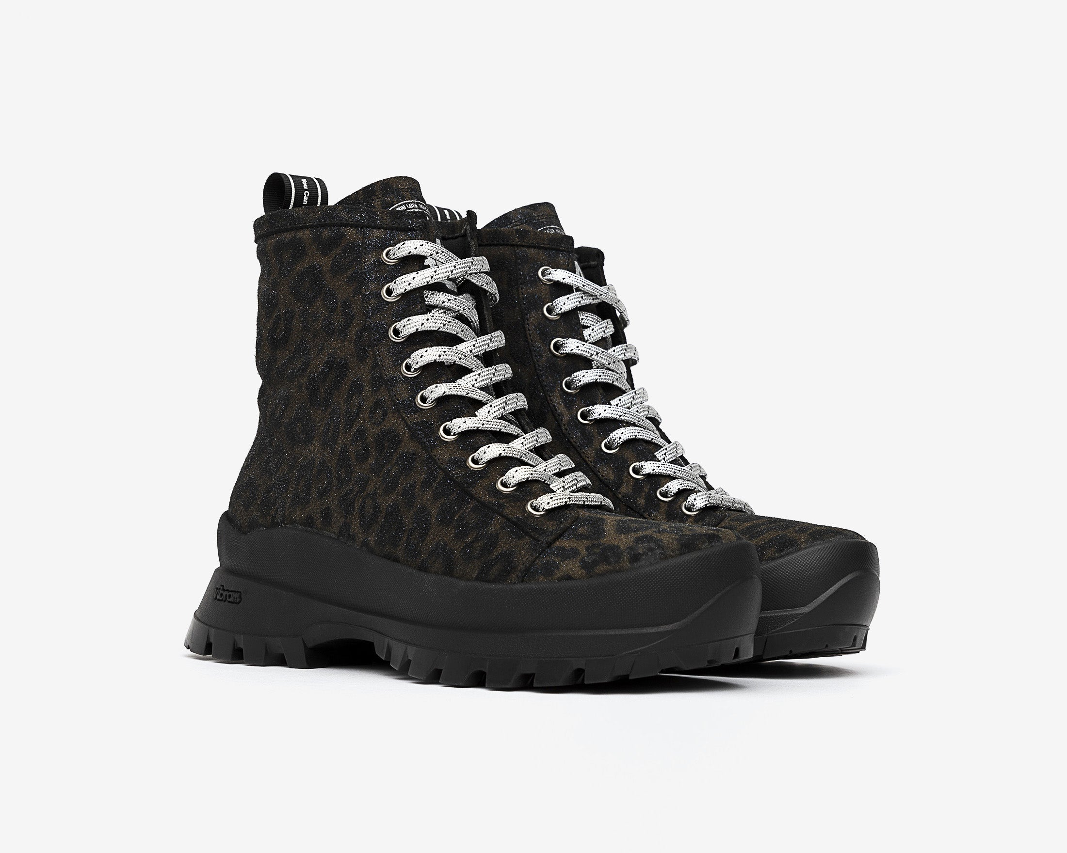 Denise Combat Boot with Vibram bottom in Black Leopard - Side