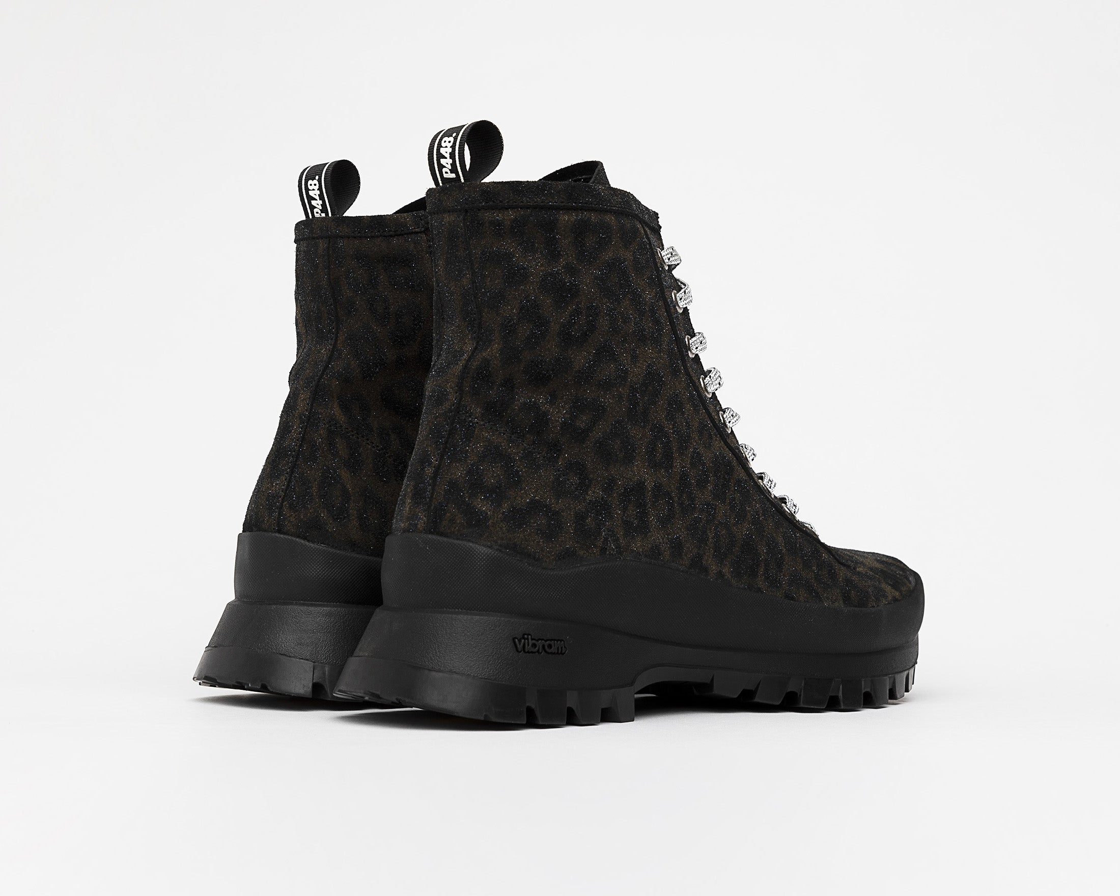 Denise Combat Boot with Vibram bottom in Black Leopard - Back