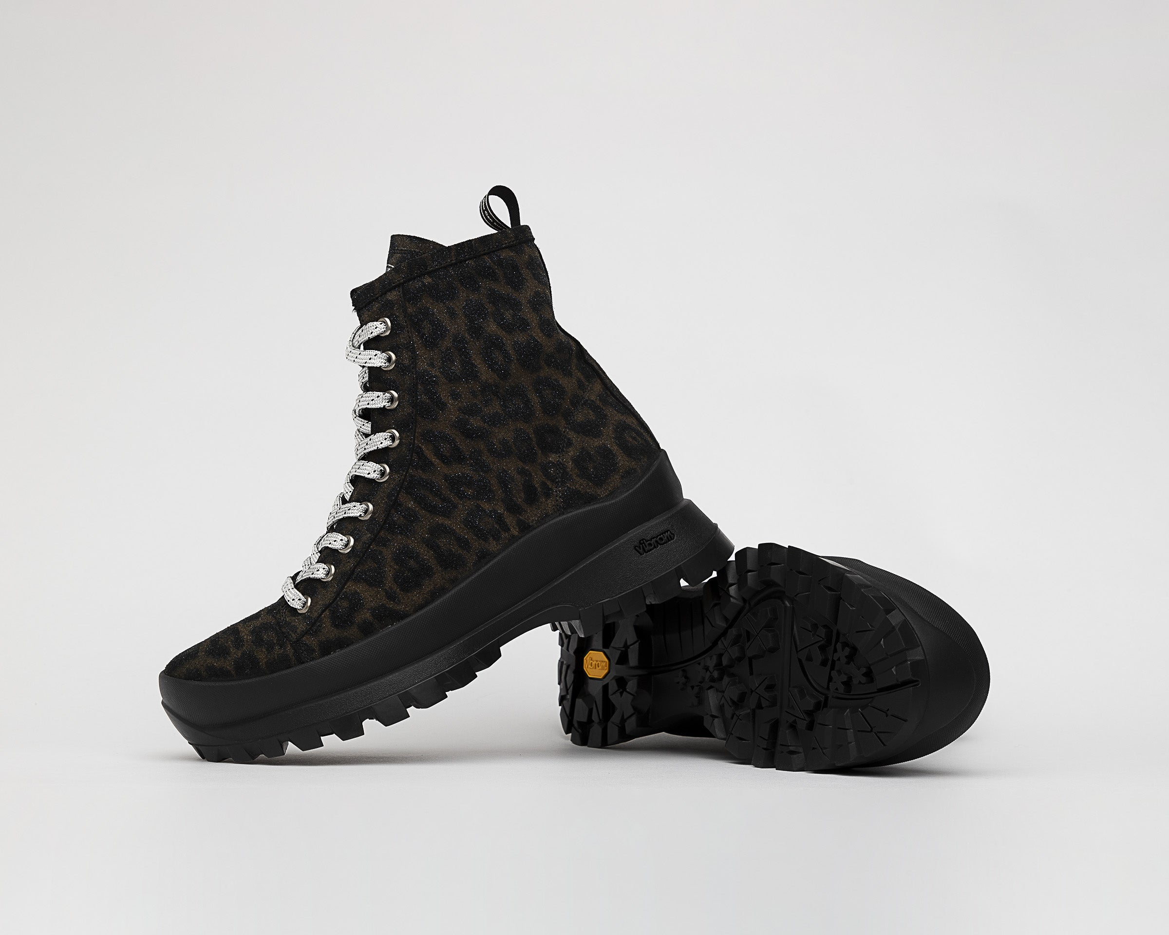 Denise Combat Boot with Vibram bottom in Black Leopard - Detail