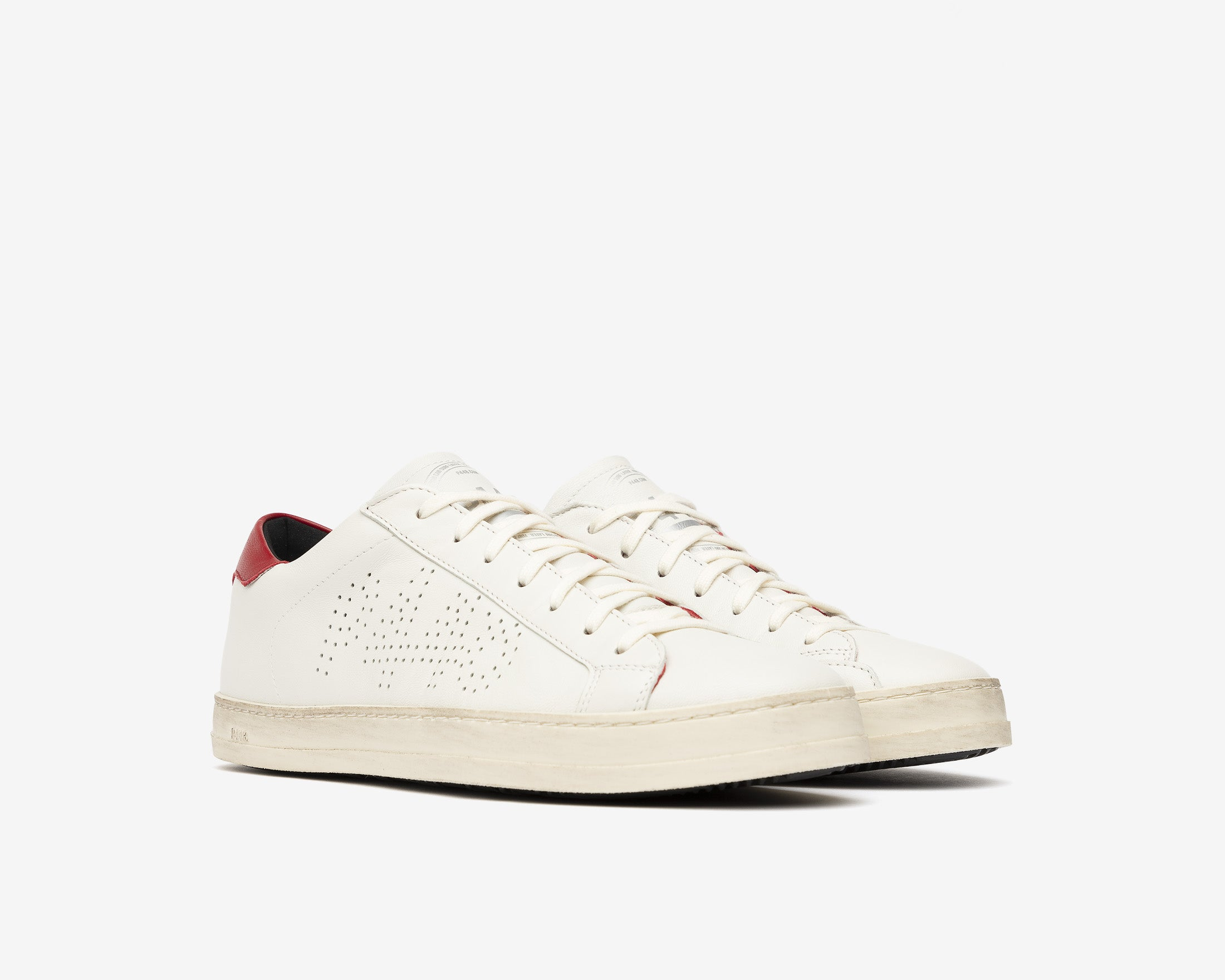 John Low-Top Sneaker in White/Red - Side