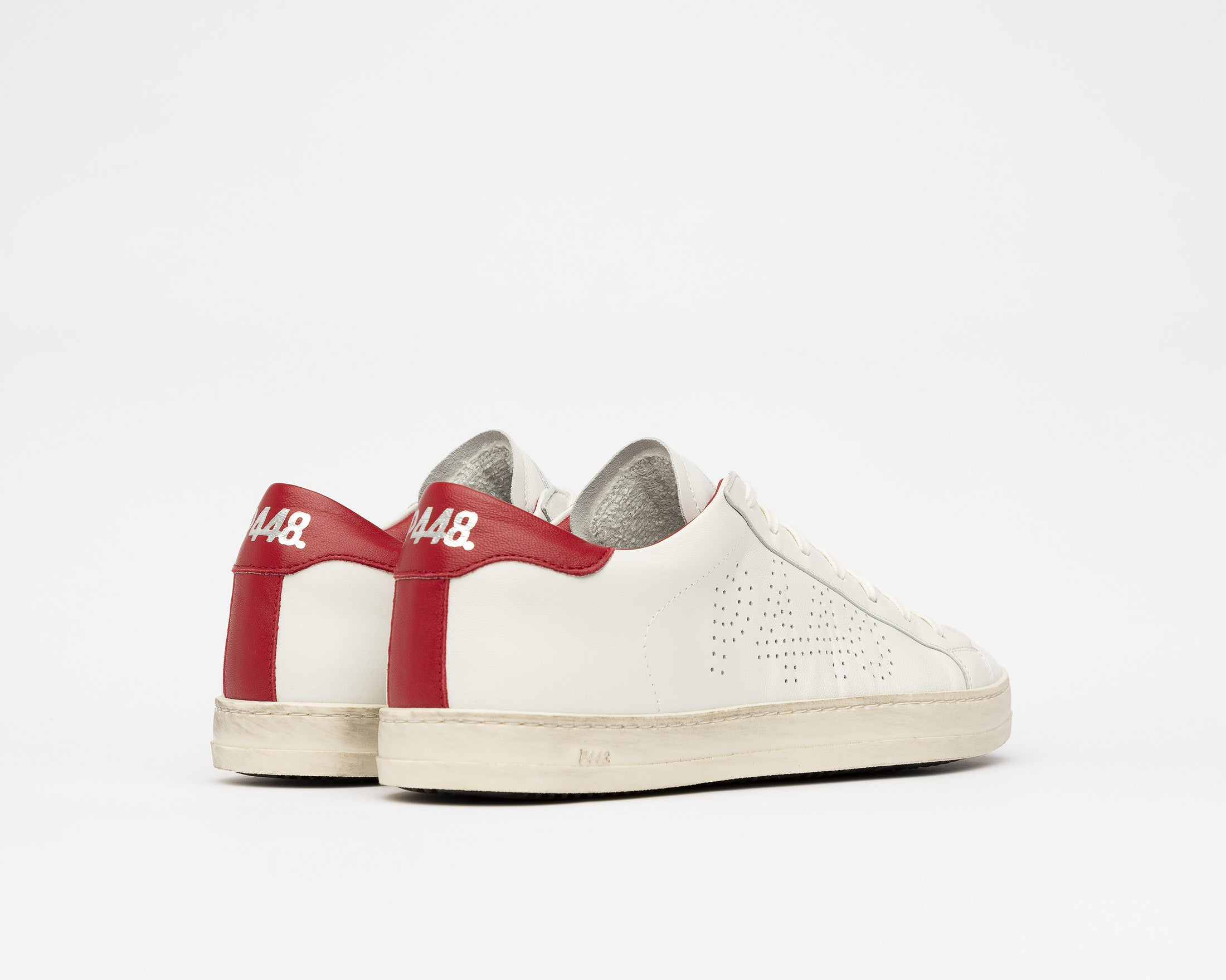 John Low-Top Sneaker in White/Red - Back