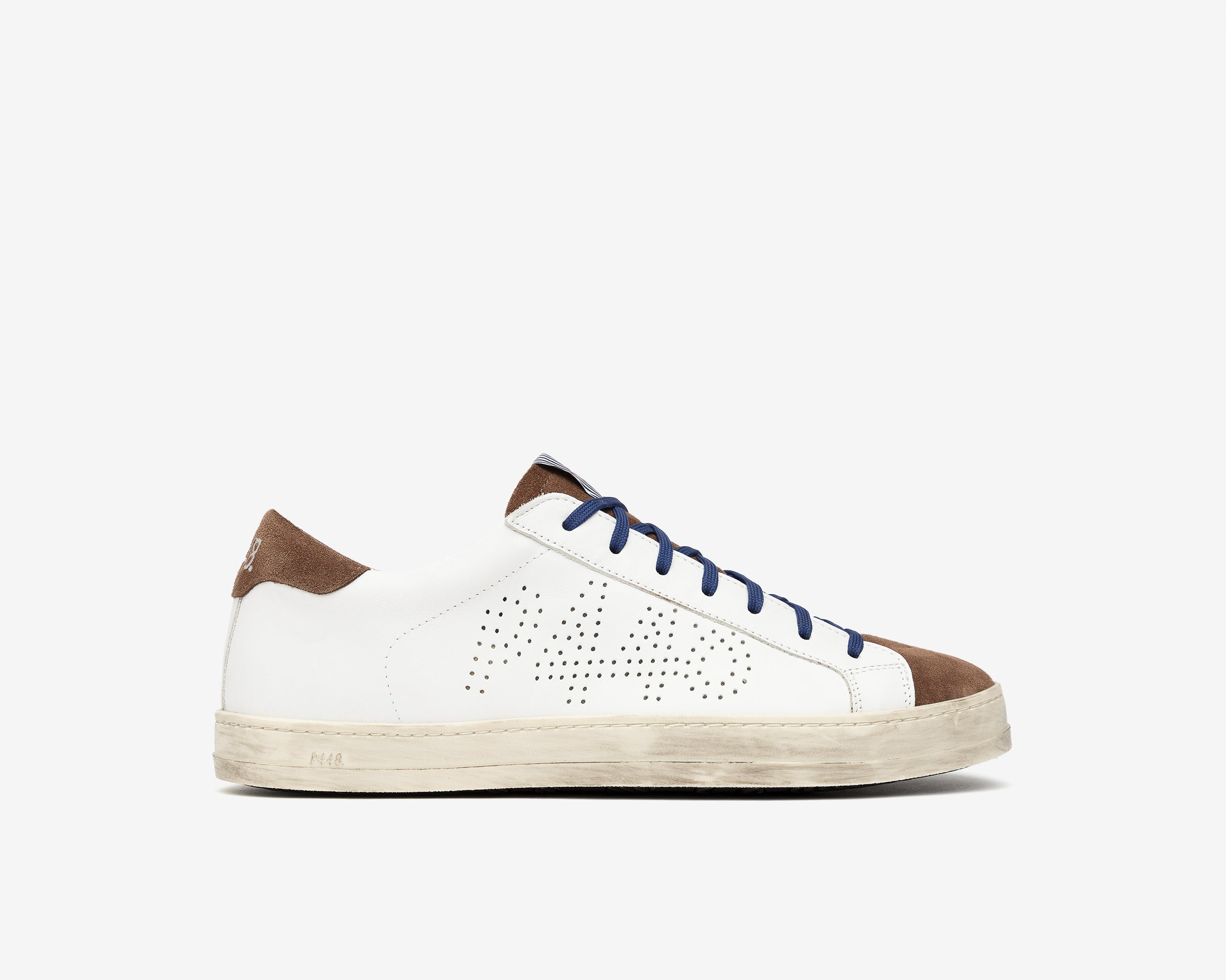 John Low-Top Sneaker in White/Brown - Profile