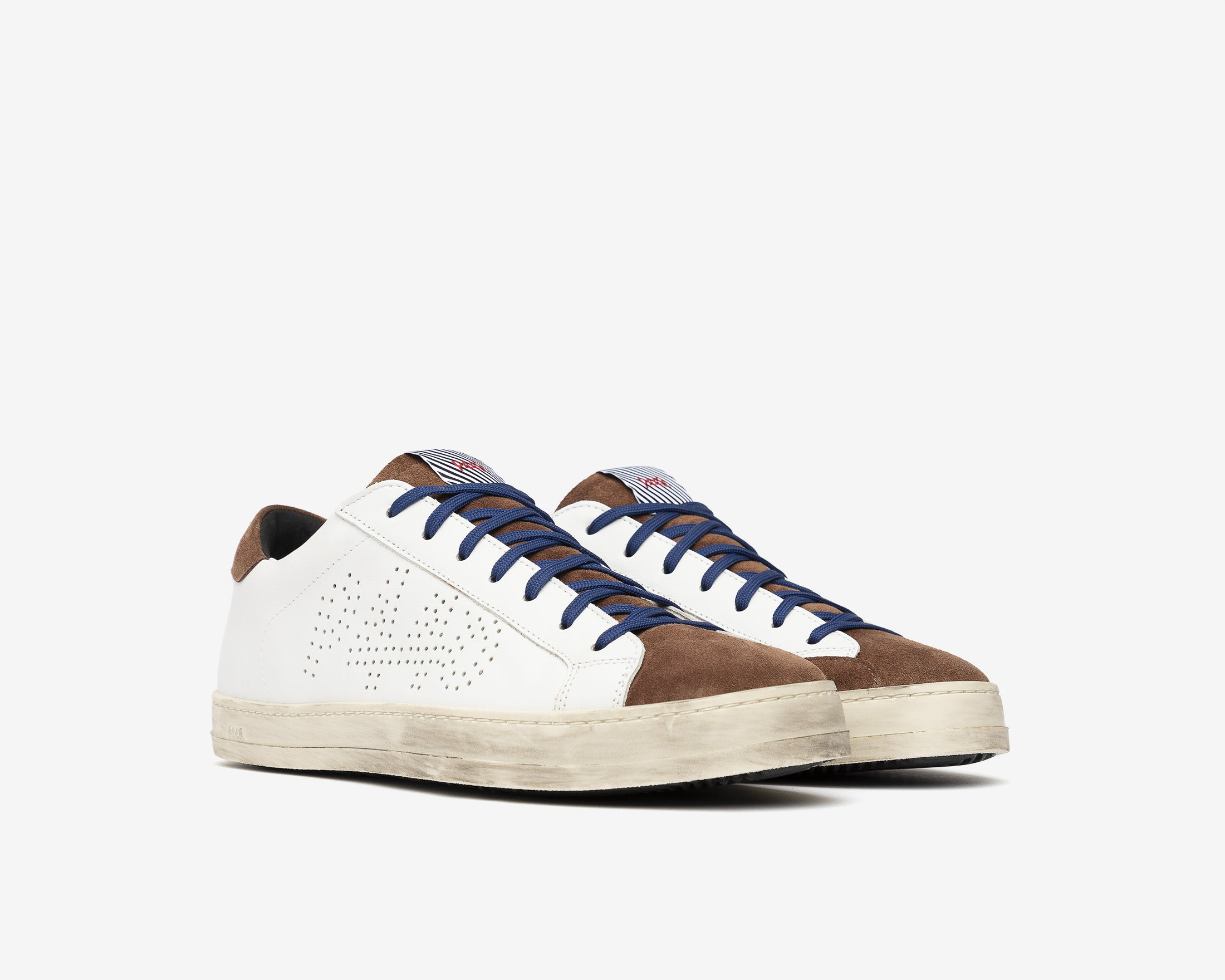 John Low-Top Sneaker in White/Brown - Side