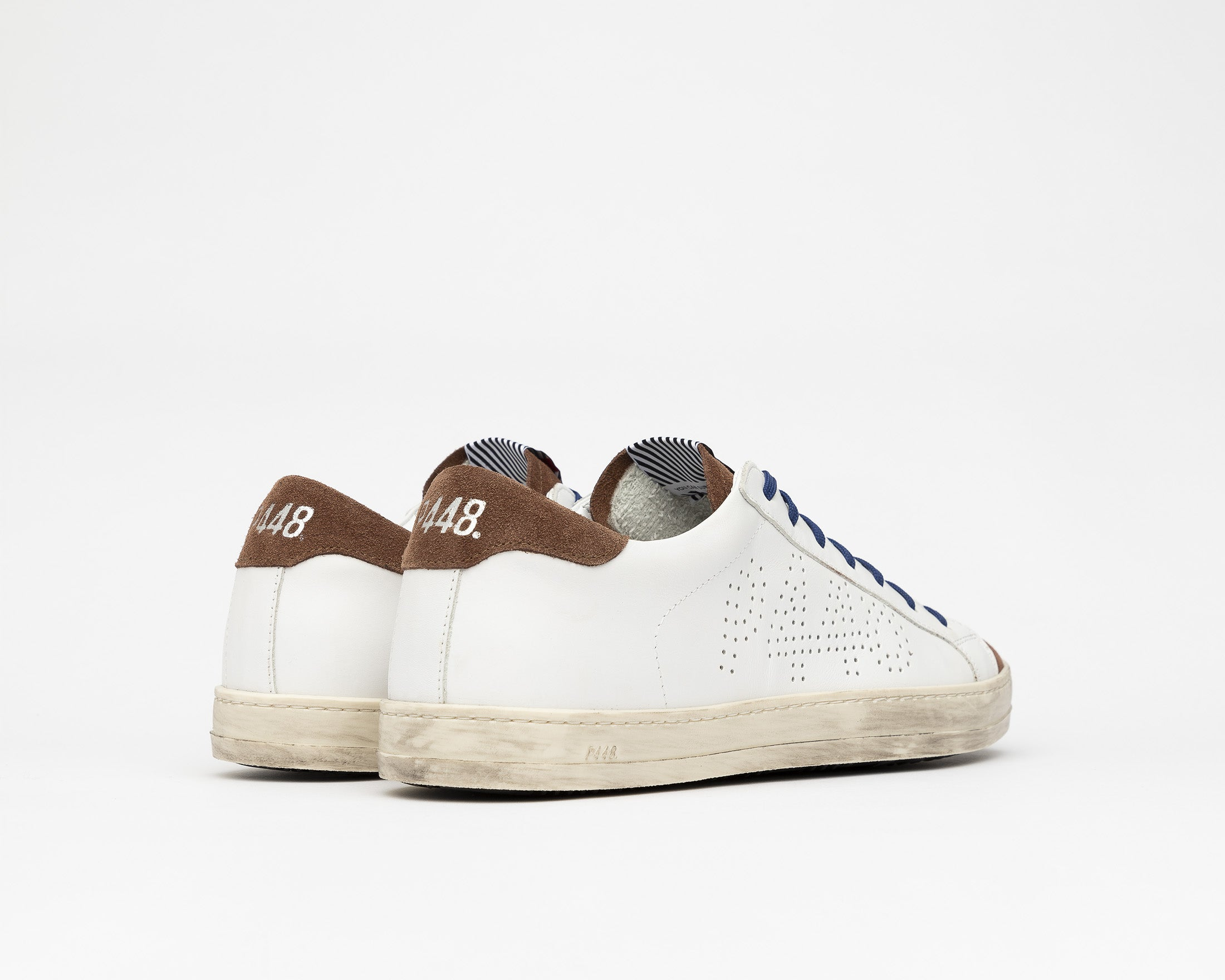 John Low-Top Sneaker in White/Brown - Back
