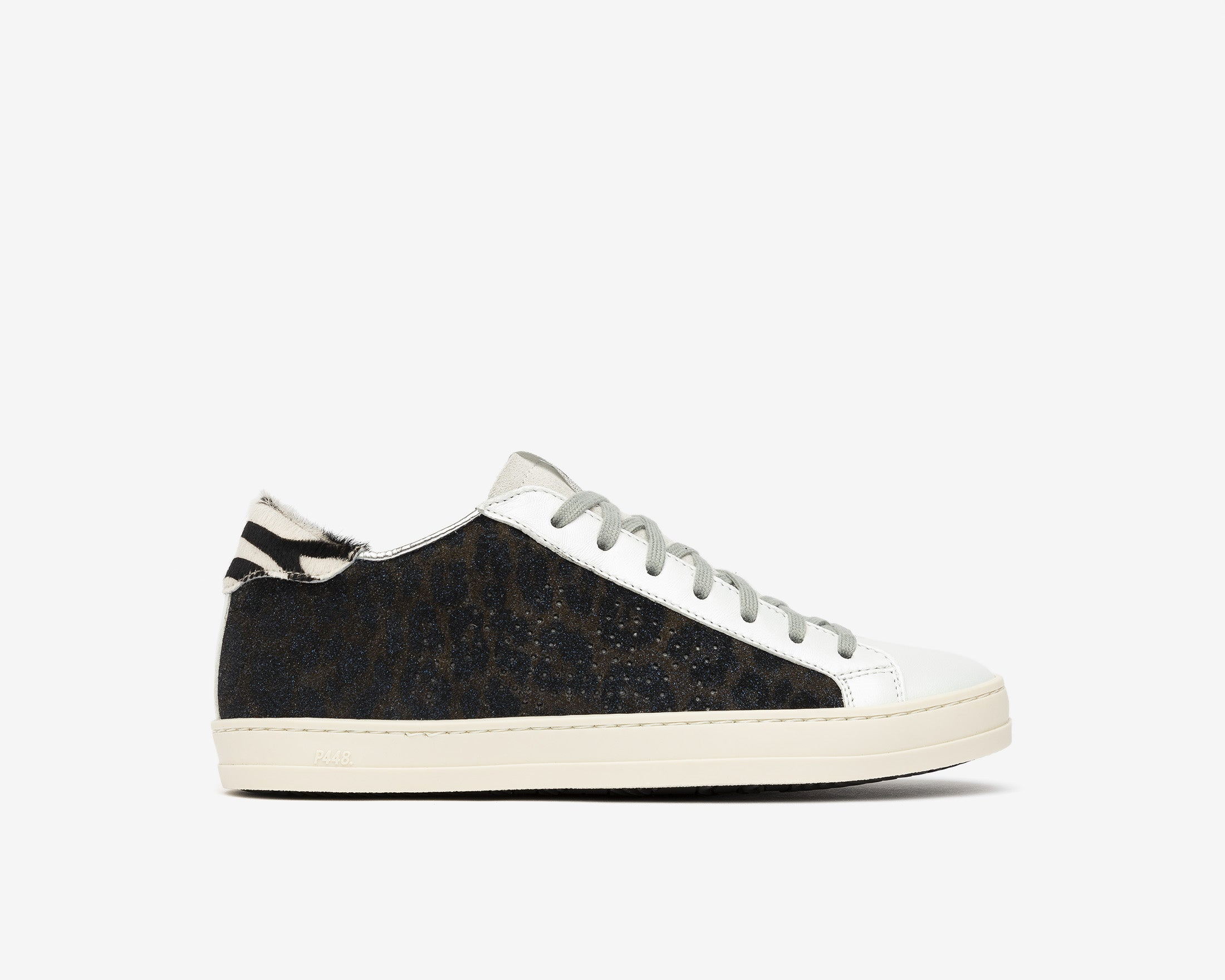 JohnBS Low-Top Sneaker in Silver Glitter - Profile