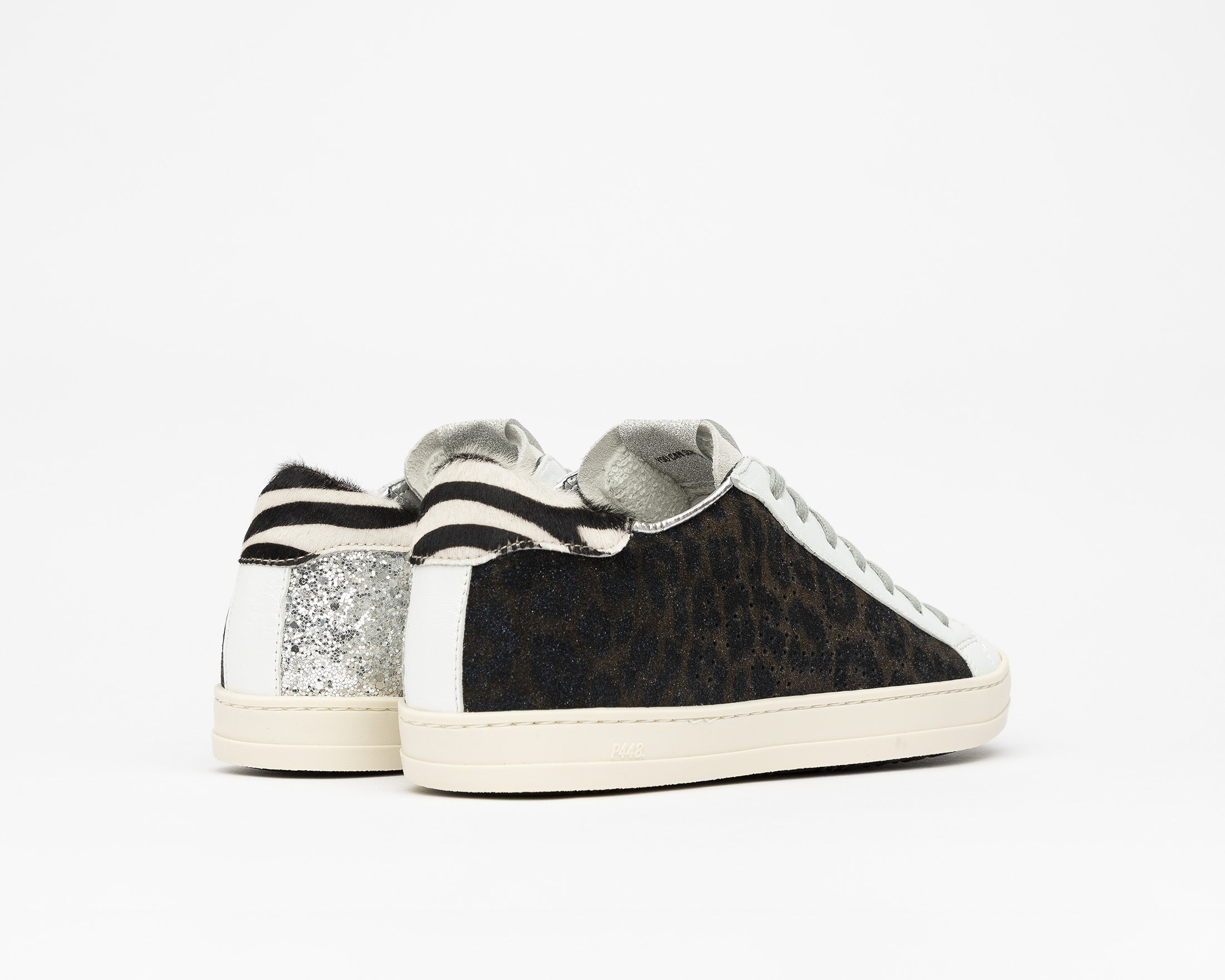 JohnBS Low-Top Sneaker in Silver Glitter - Back