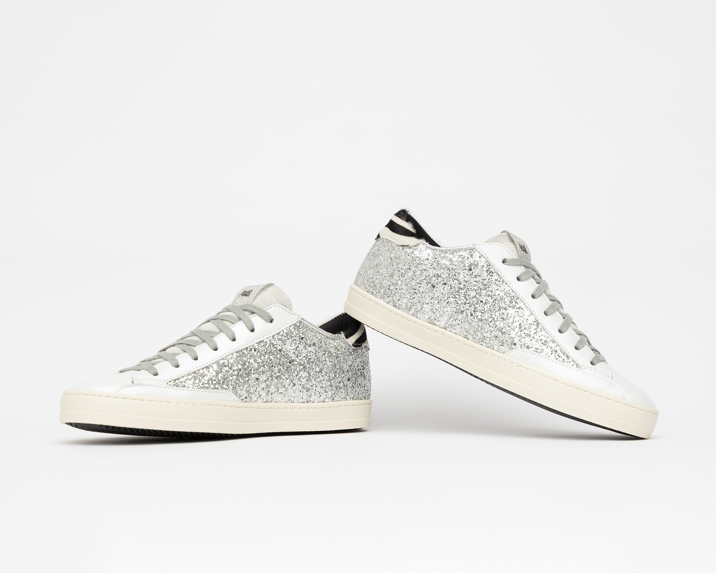 JohnBS Low-Top Sneaker in Silver Glitter - Detail 2