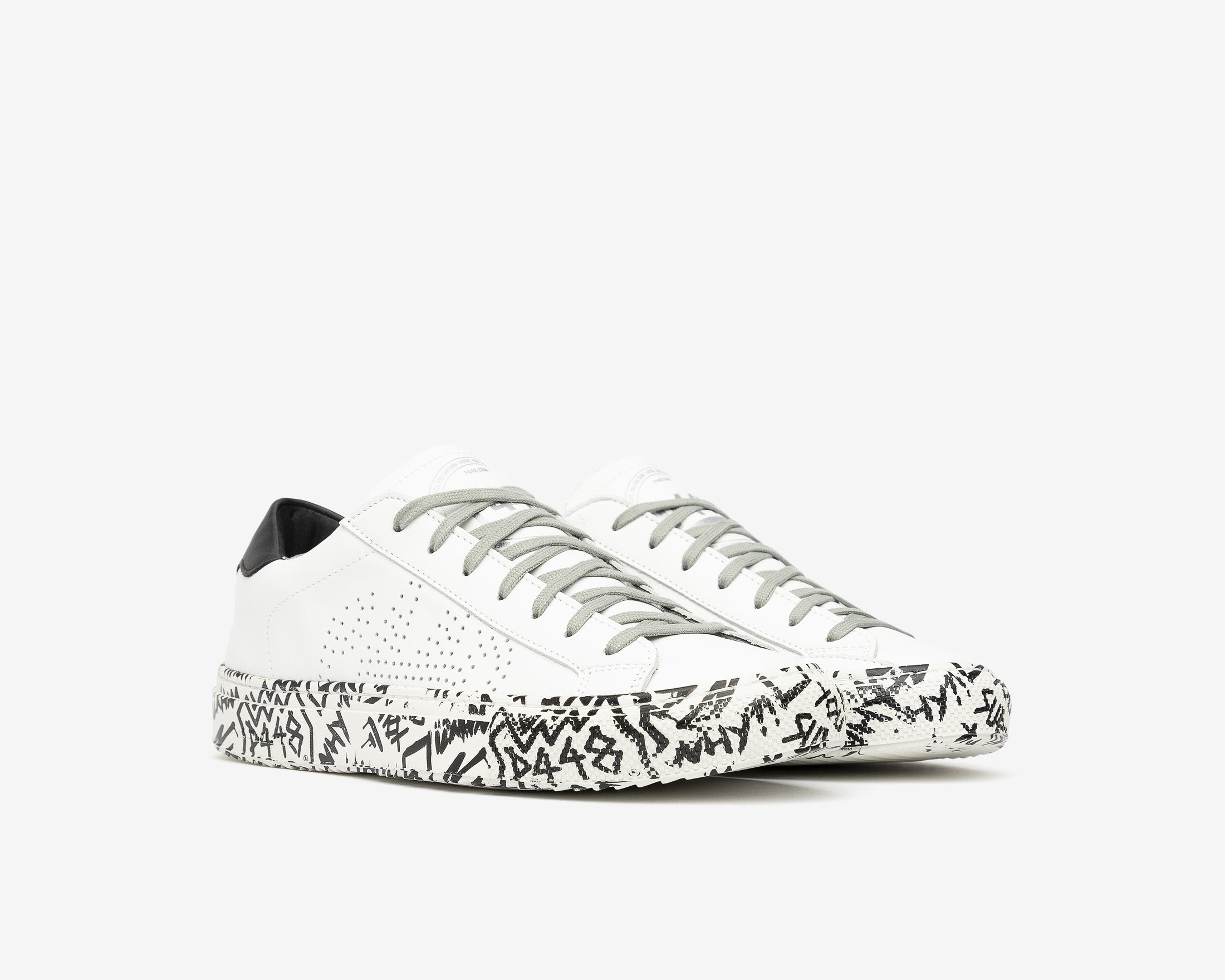 JohnP Low-Top Sneaker in White/P448 Sole - Side