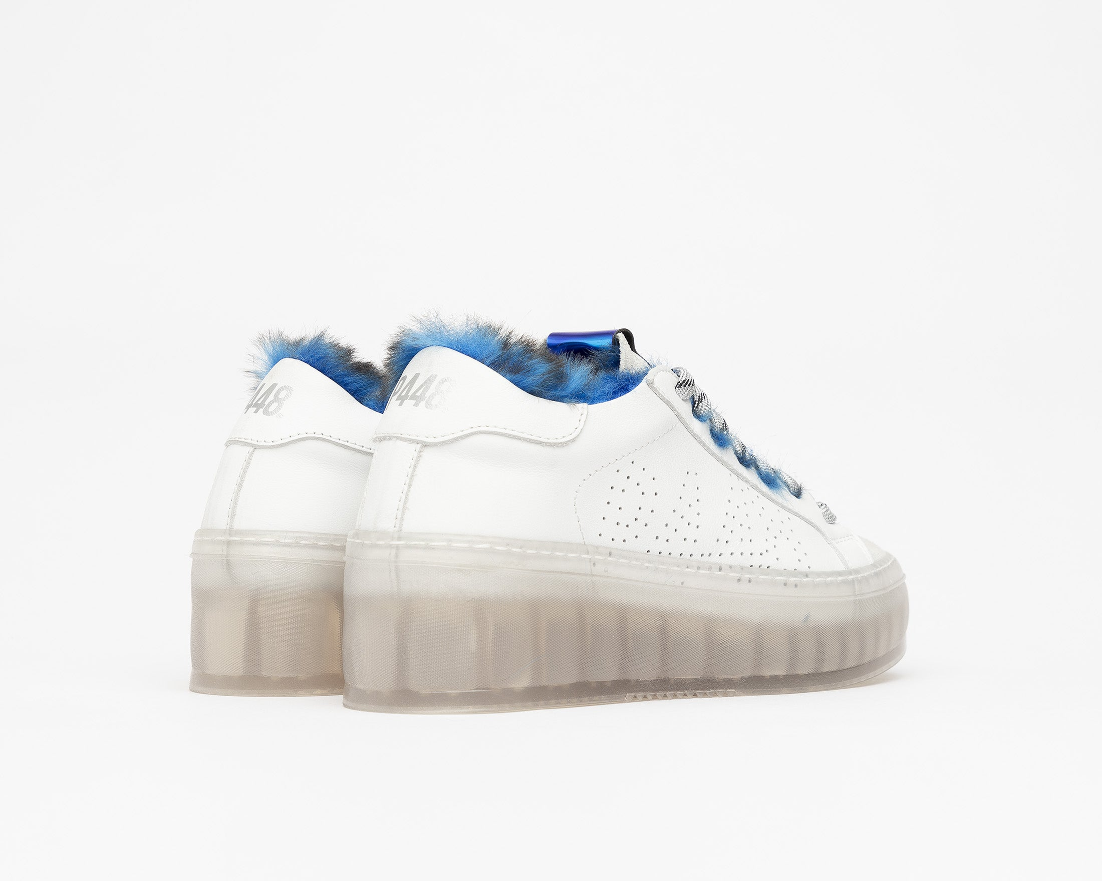 Louise Platform Sneaker in Royal Fur/TGlass - Back