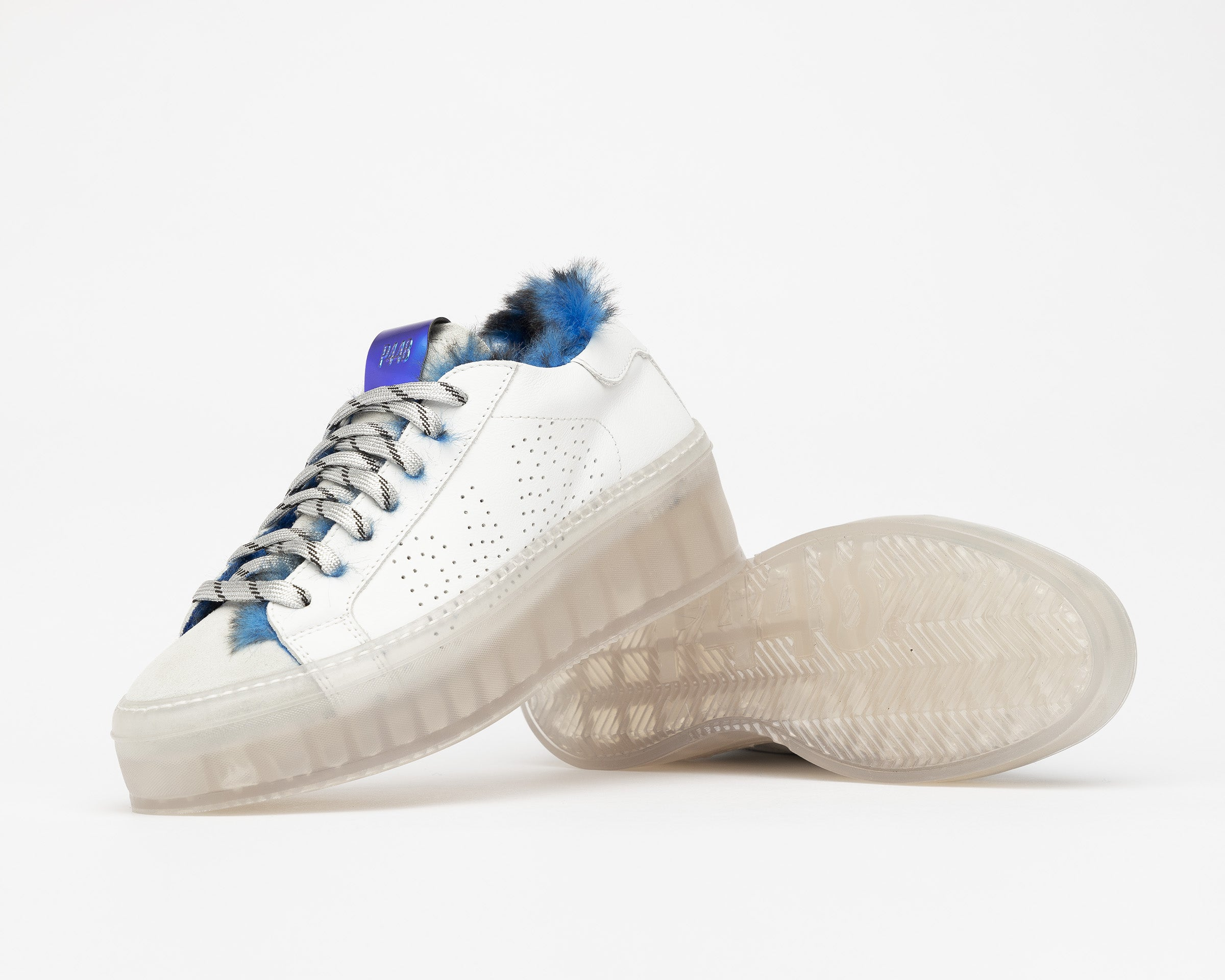 Louise Platform Sneaker in Royal Fur/TGlass - Detail 1