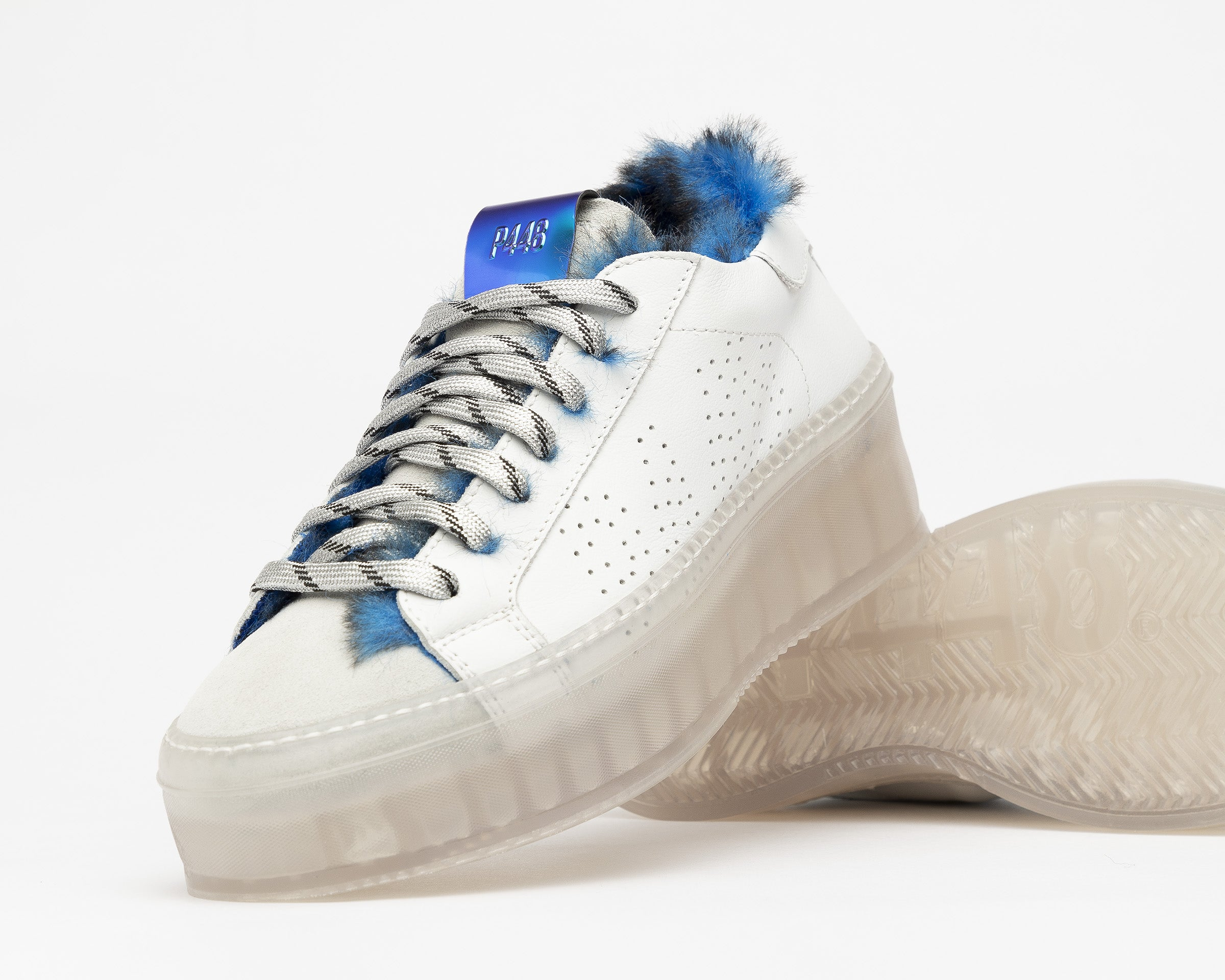 Louise Platform Sneaker in Royal Fur/TGlass - Detail 3