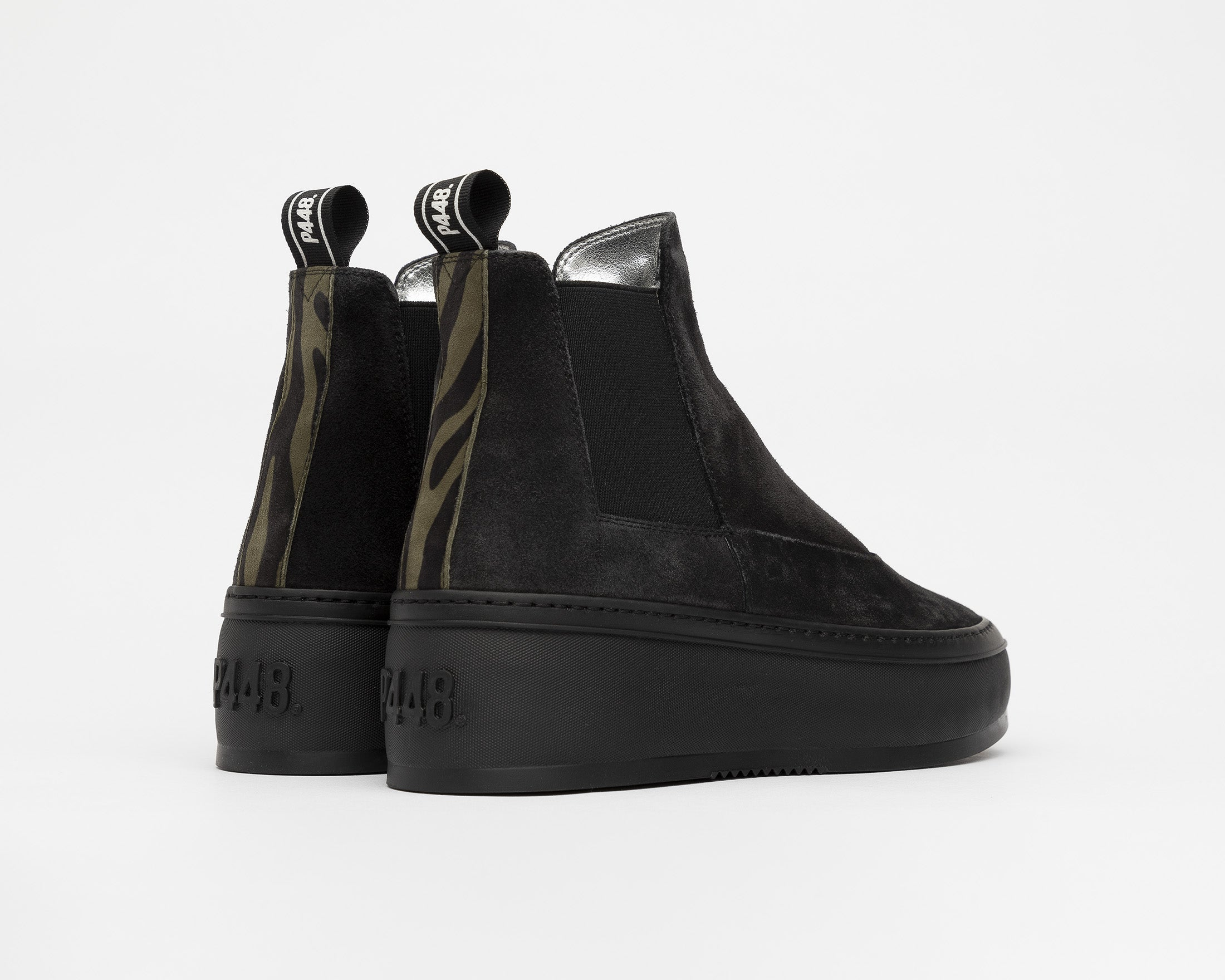 Lucy Chunky Platform Sneaker in Black/Army Zeb - Back