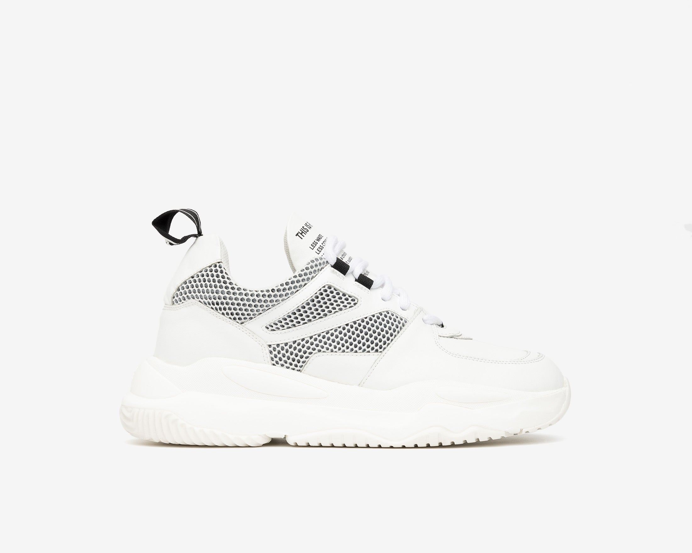Luke Chunky Sneaker in WhiteR Recycled Leather - Profile