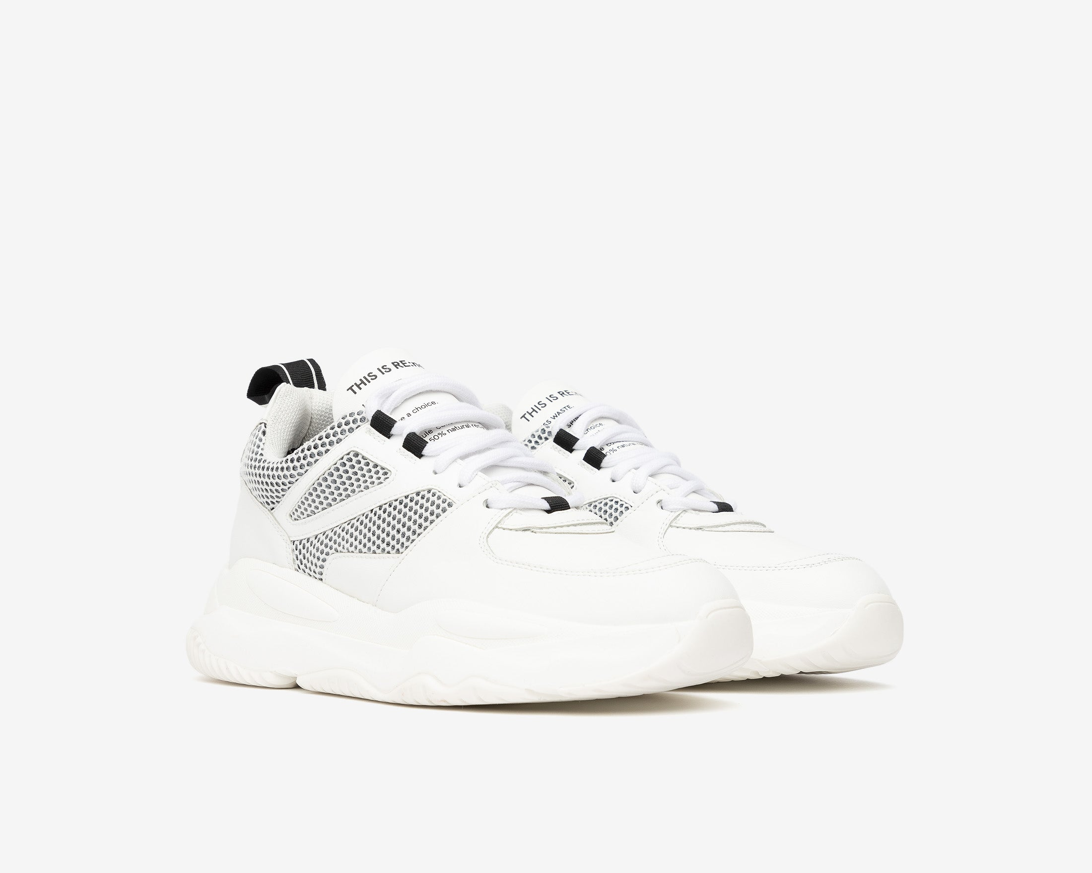 Luke Chunky Sneaker in WhiteR Recycled Leather - Side