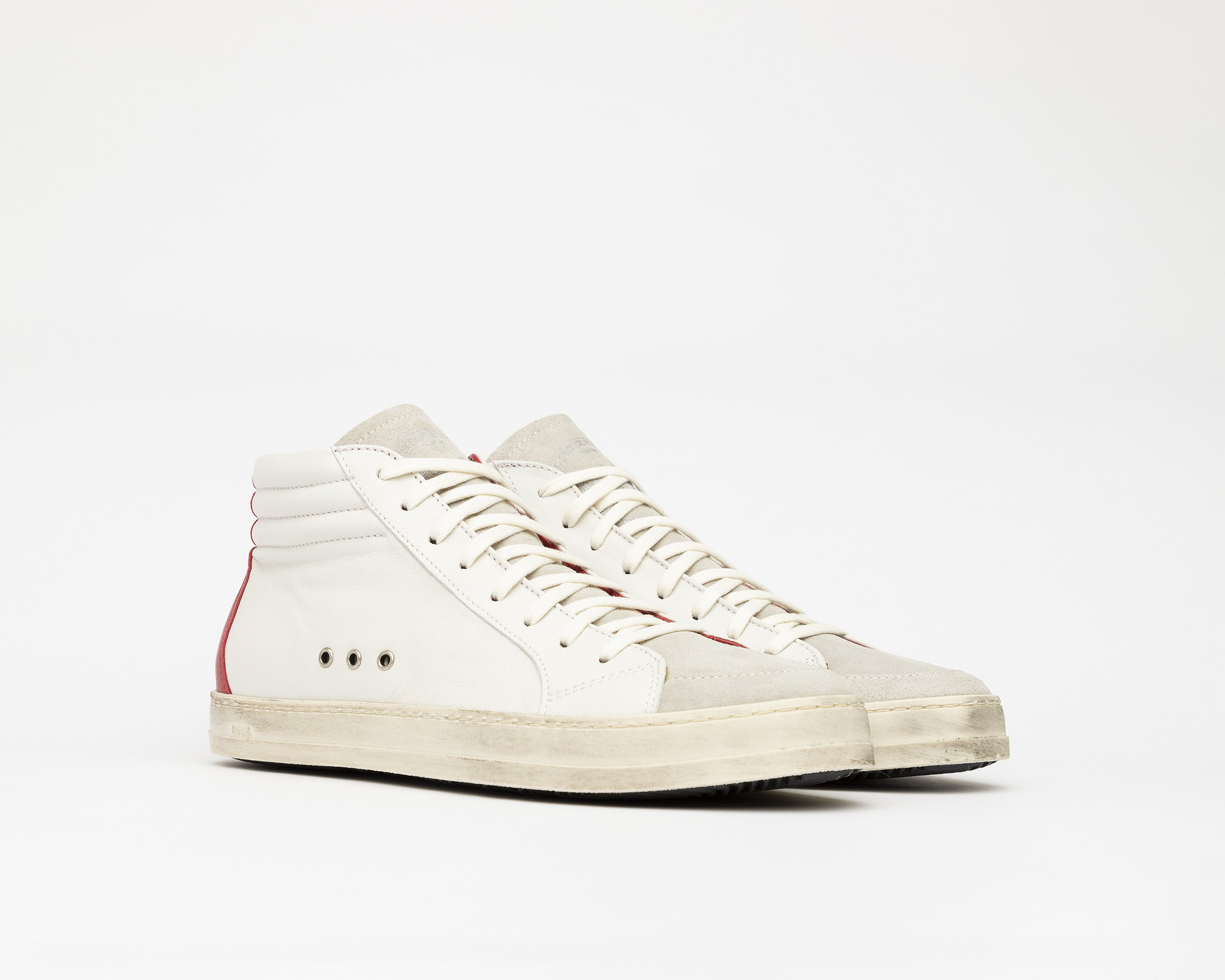 Skate Men's High-Top Sneaker Cream Red - Side