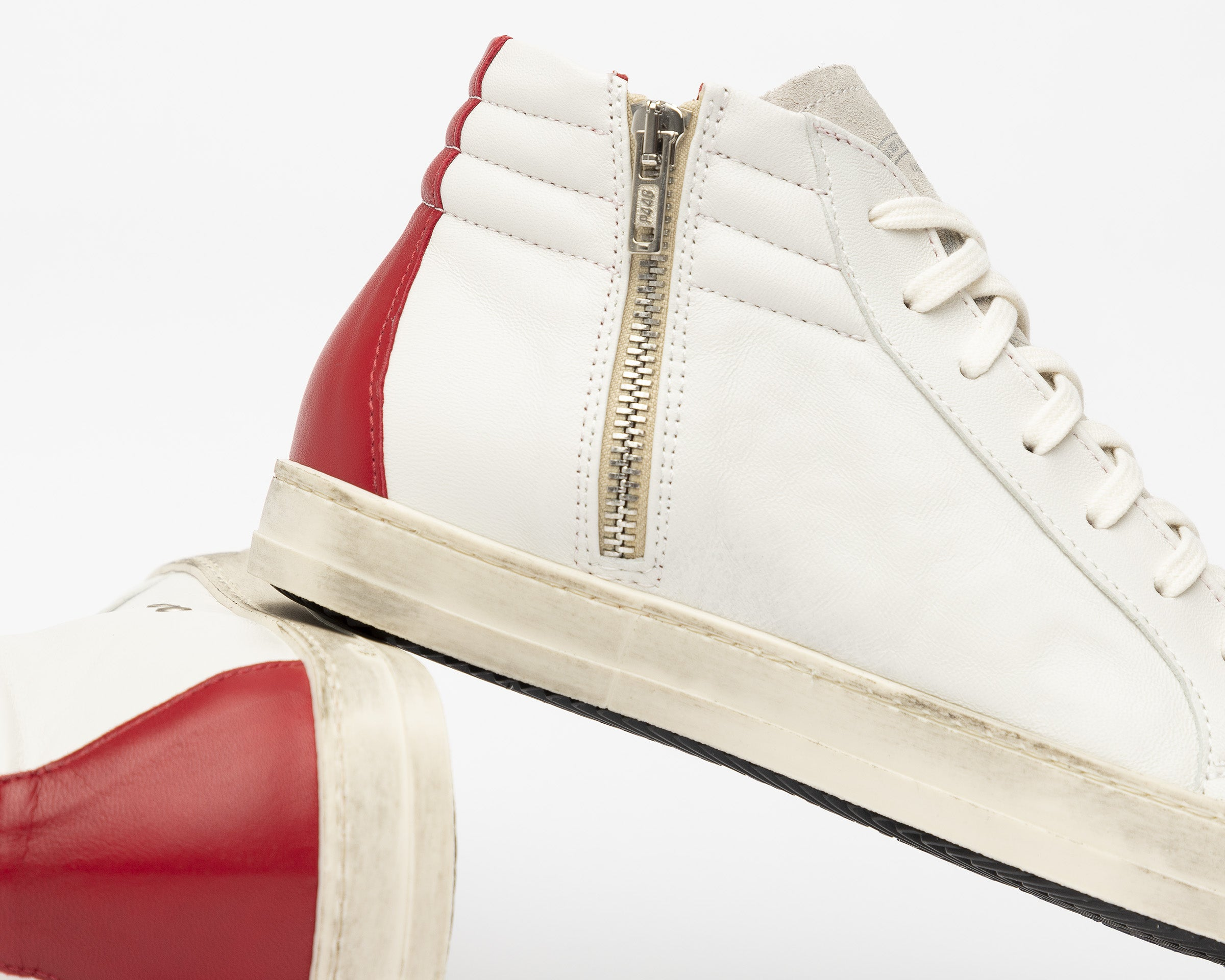 Skate Men's High-Top Sneaker Cream Red - Detail