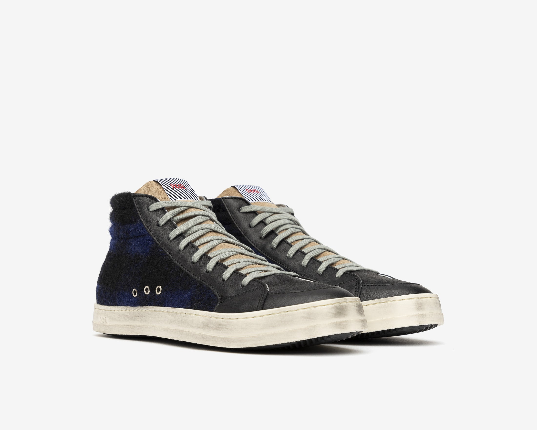 Skate High-Top Sneaker in Tartan/Royal - Side