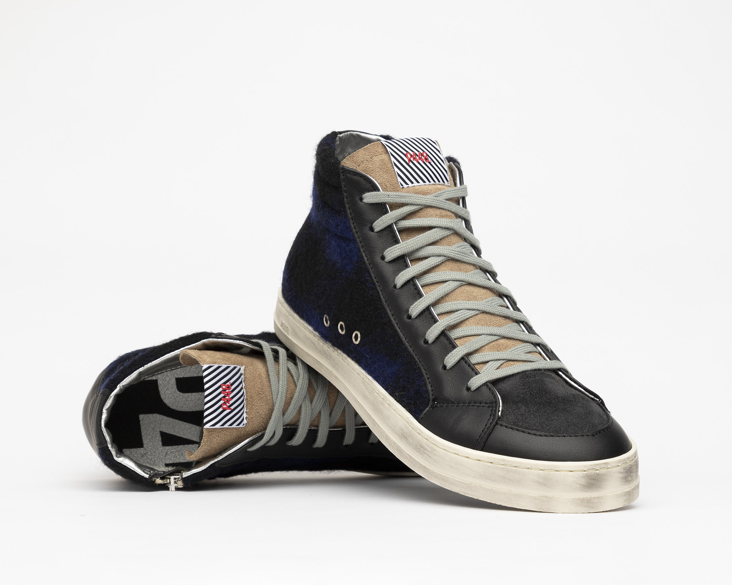Skate High-Top Sneaker in Tartan/Royal - Detail