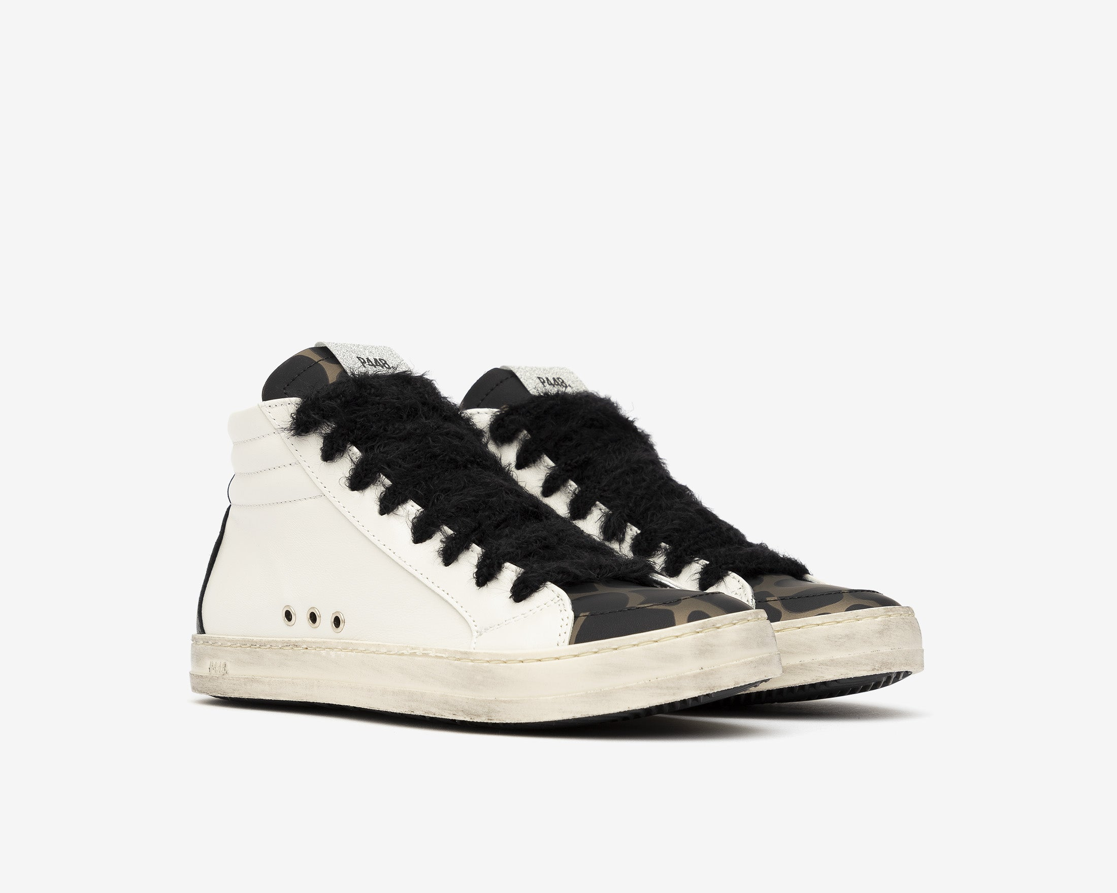 Skate High-Top Sneaker in White/Army Giraffe - Side