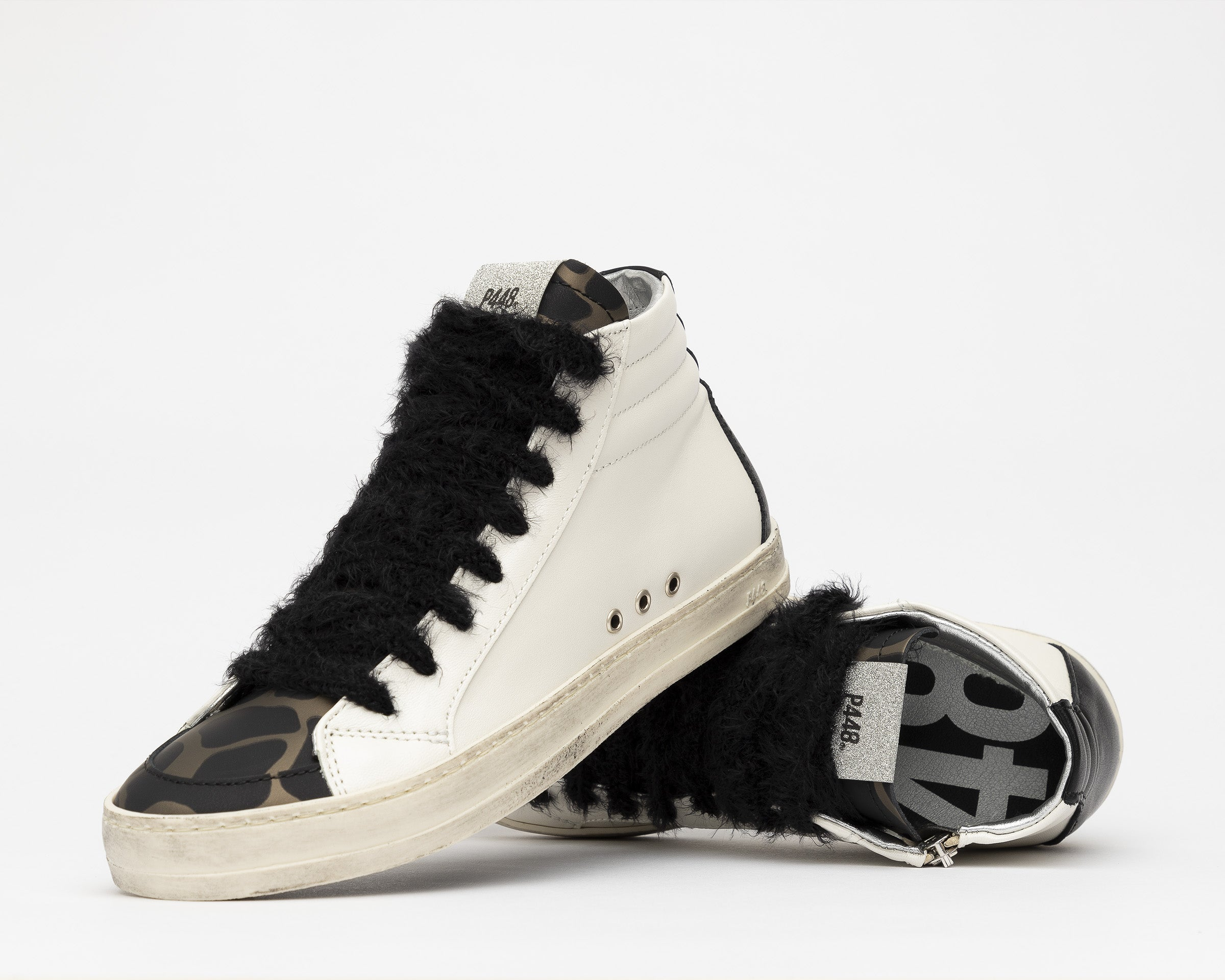 Skate High-Top Sneaker in White/Army Giraffe - Detail