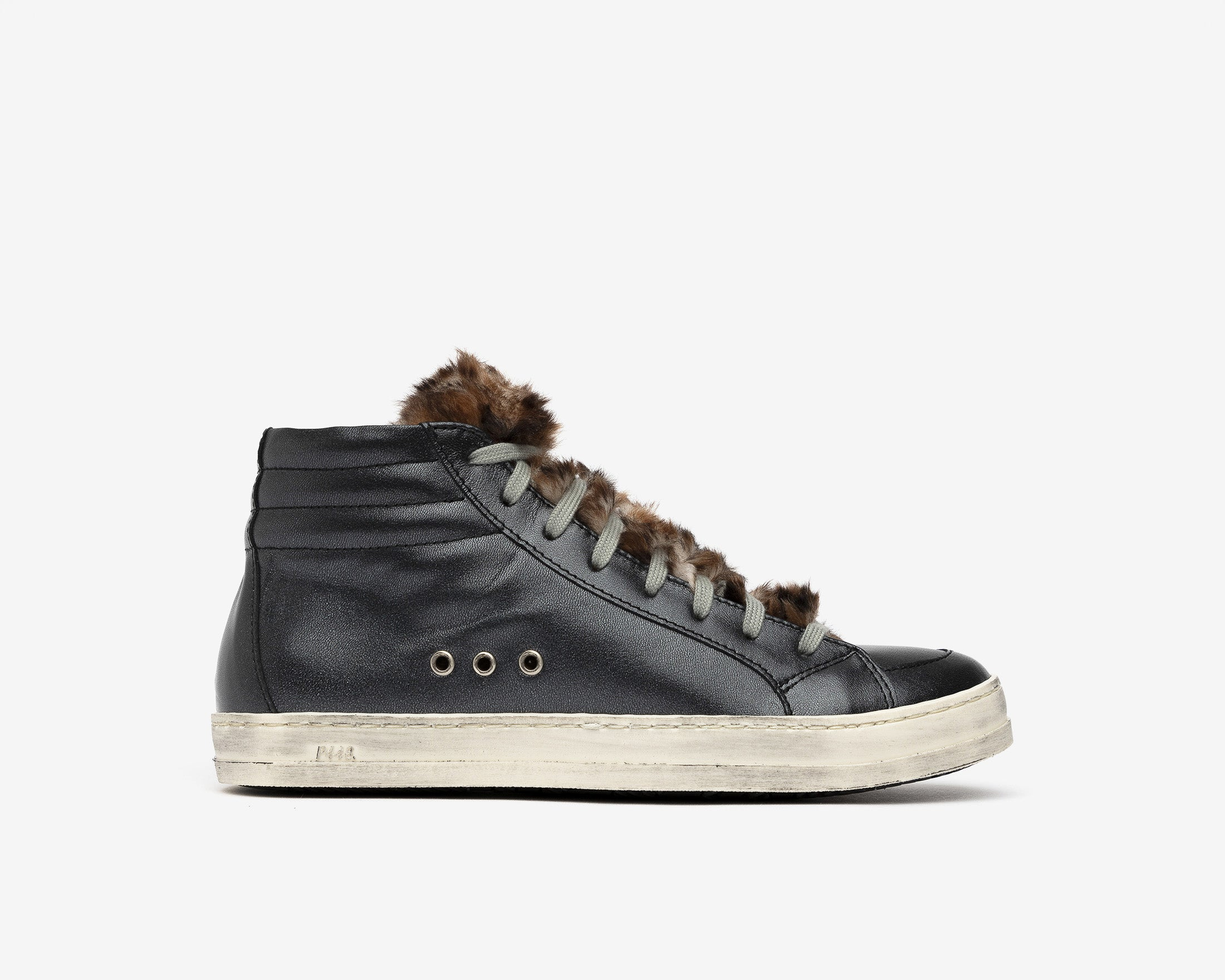 Skate High-Top Sneaker in Leopard Fur - Profile