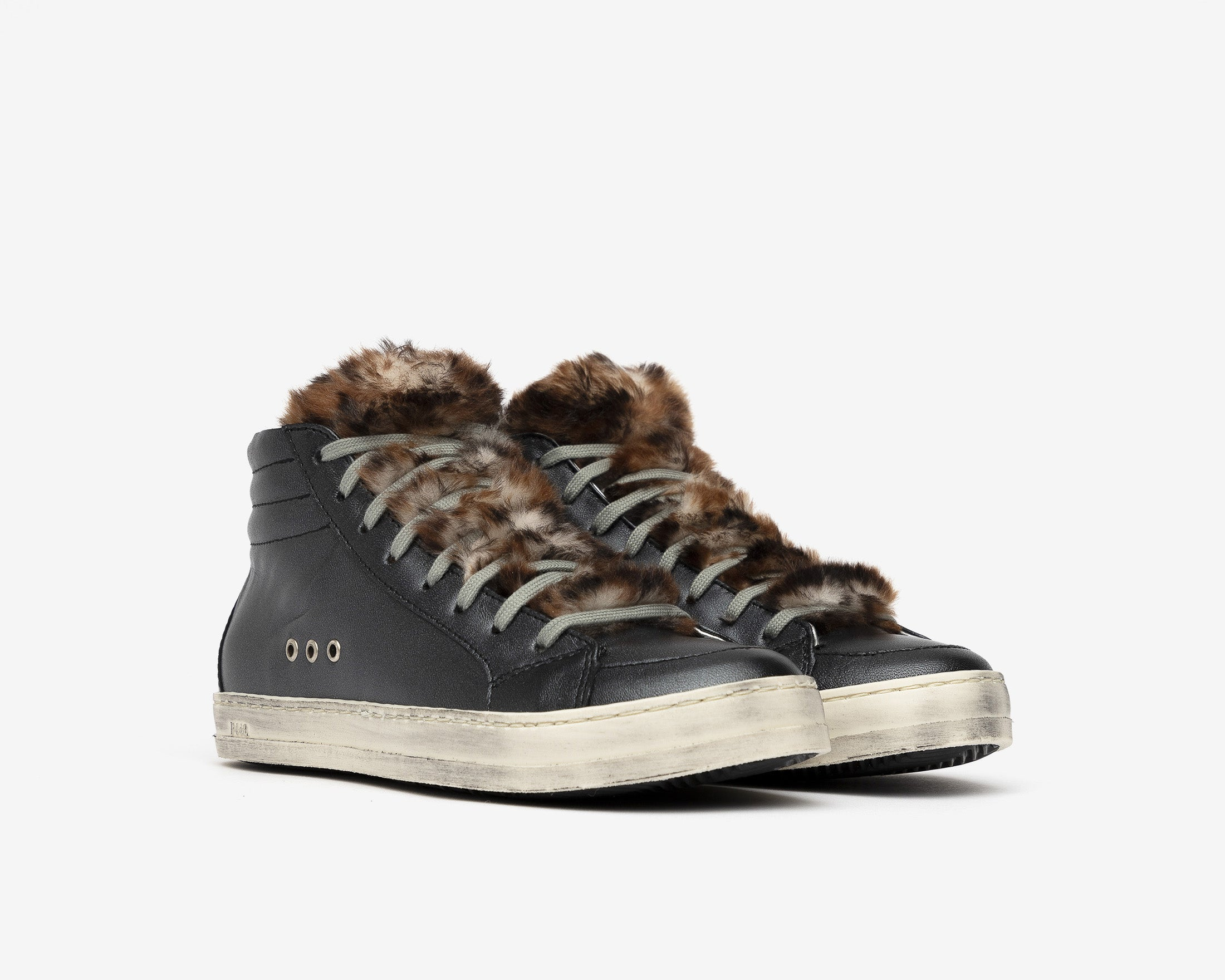 Skate High-Top Sneaker in Leopard Fur - Side