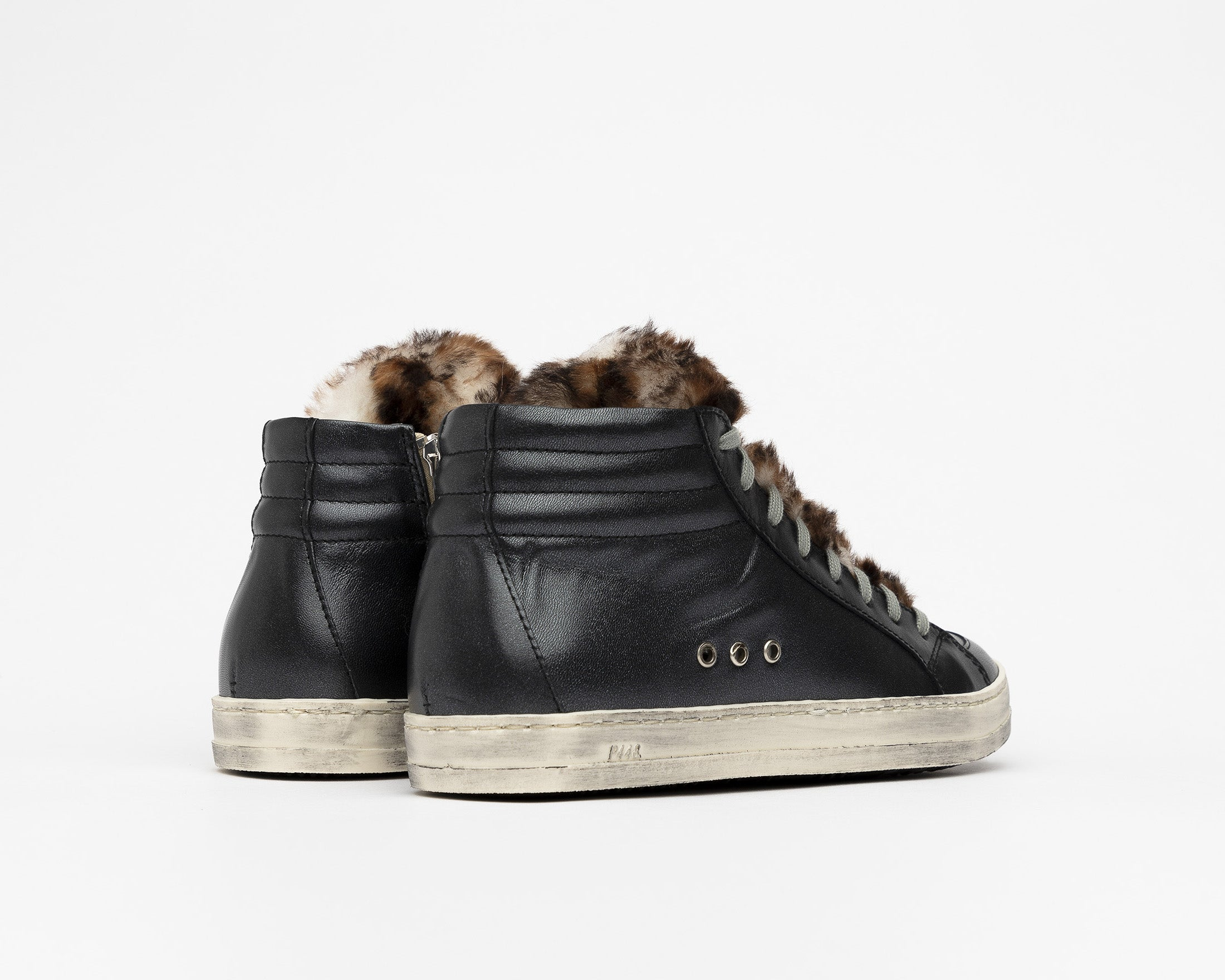 Skate High-Top Sneaker in Leopard Fur - Botom