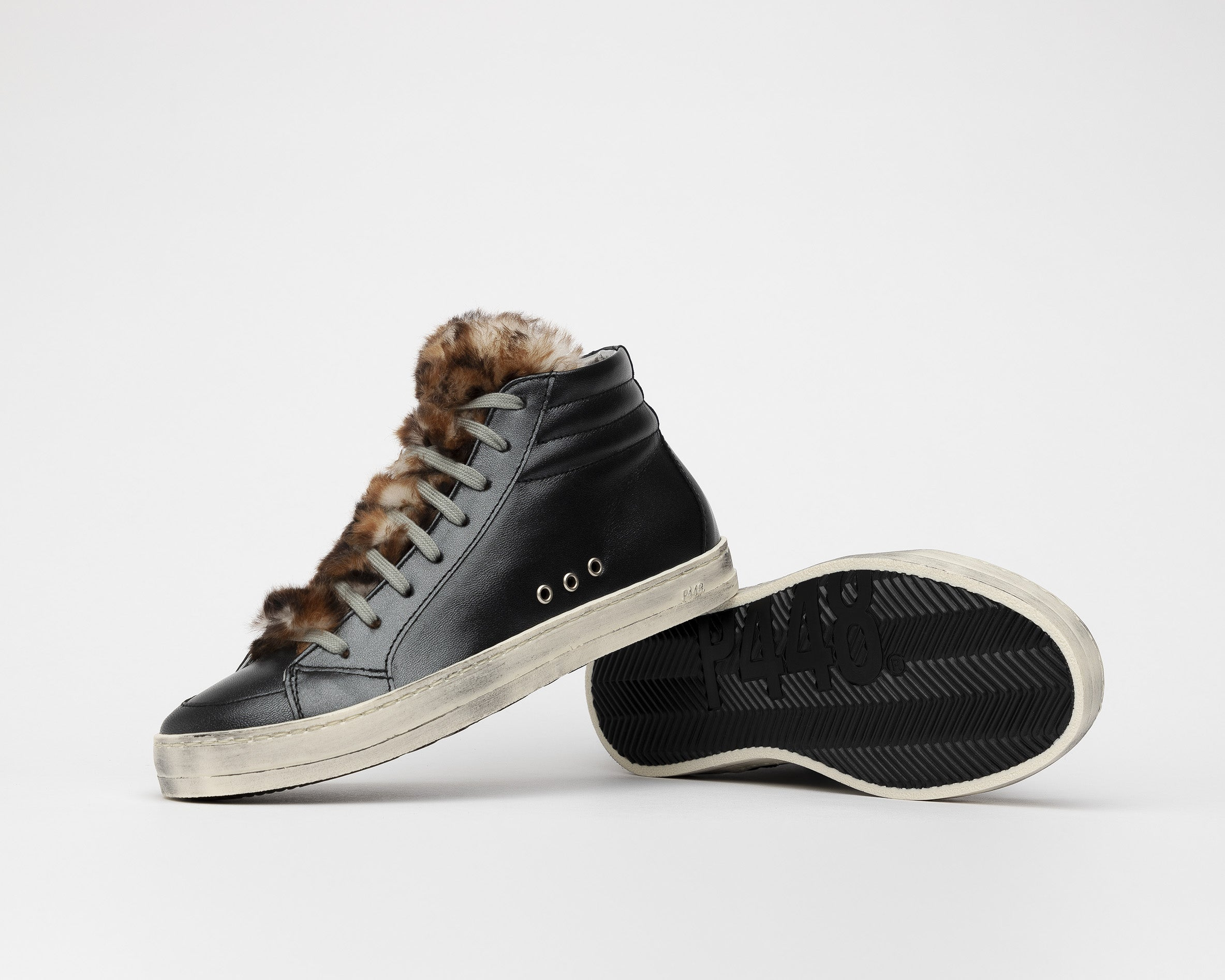 Skate High-Top Sneaker in Leopard Fur - Detail