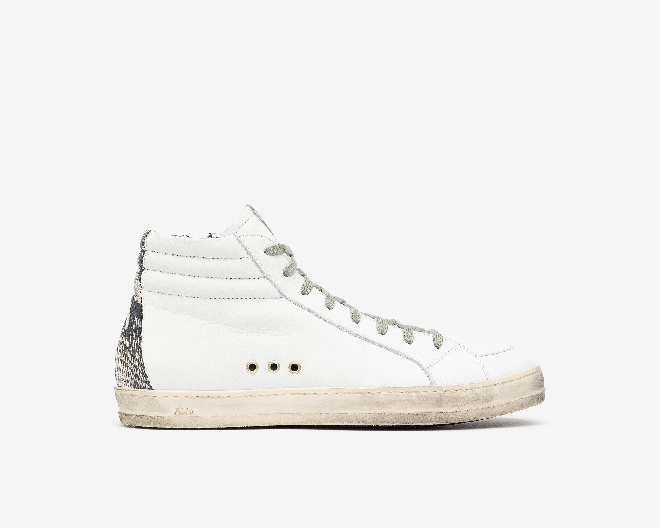 Skate High-Top Sneaker in White/Twister Python - Profile
