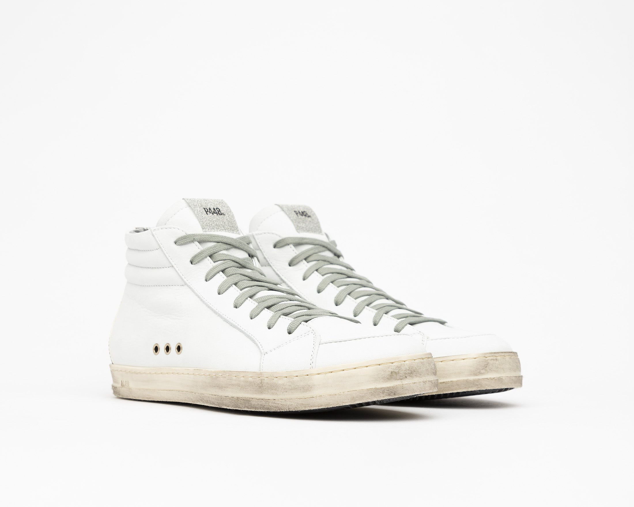 Skate High-Top Sneaker in White/Twister Python - Side