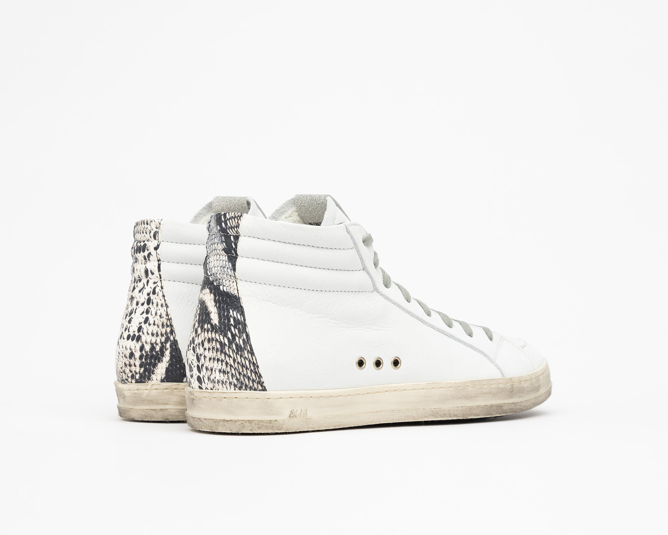 Skate High-Top Sneaker in White/Twister Python - Back