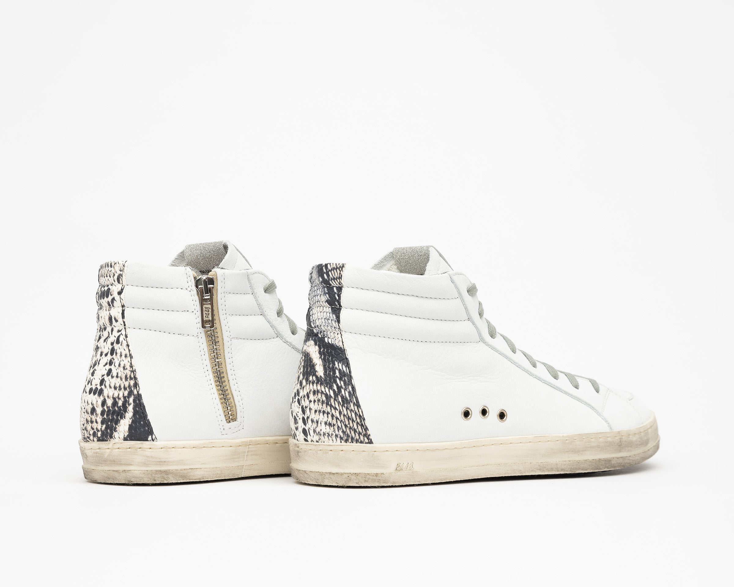 Skate High-Top Sneaker in White/Twister Python - Detail 1