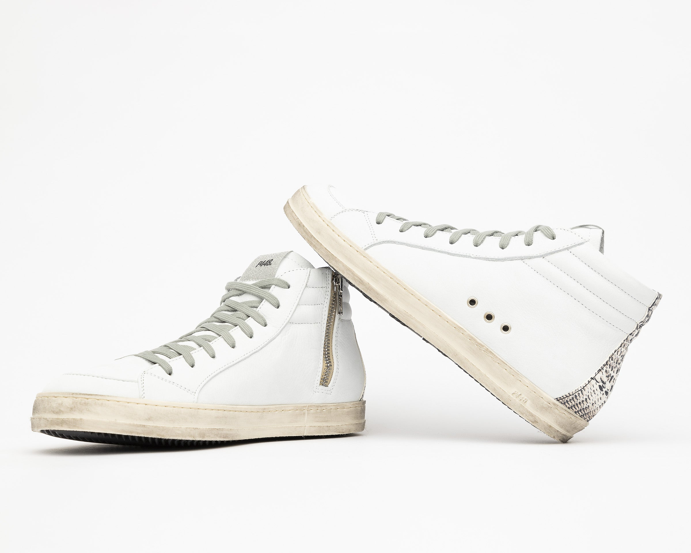 Skate High-Top Sneaker in White/Twister Python - Detail 2