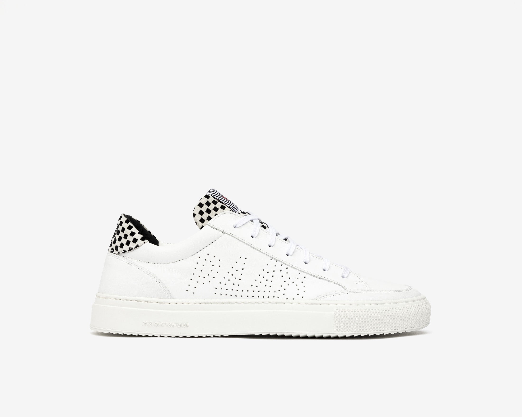 Soho Pull-on Sneaker in White Check - Profile