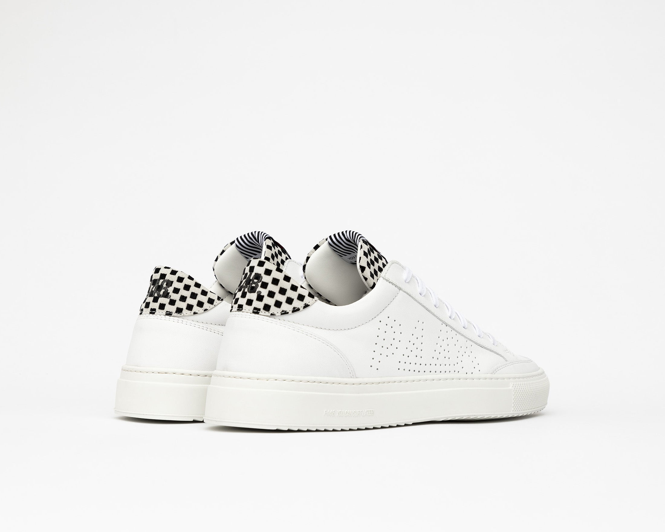 Soho Pull-on Sneaker in White Check - Back