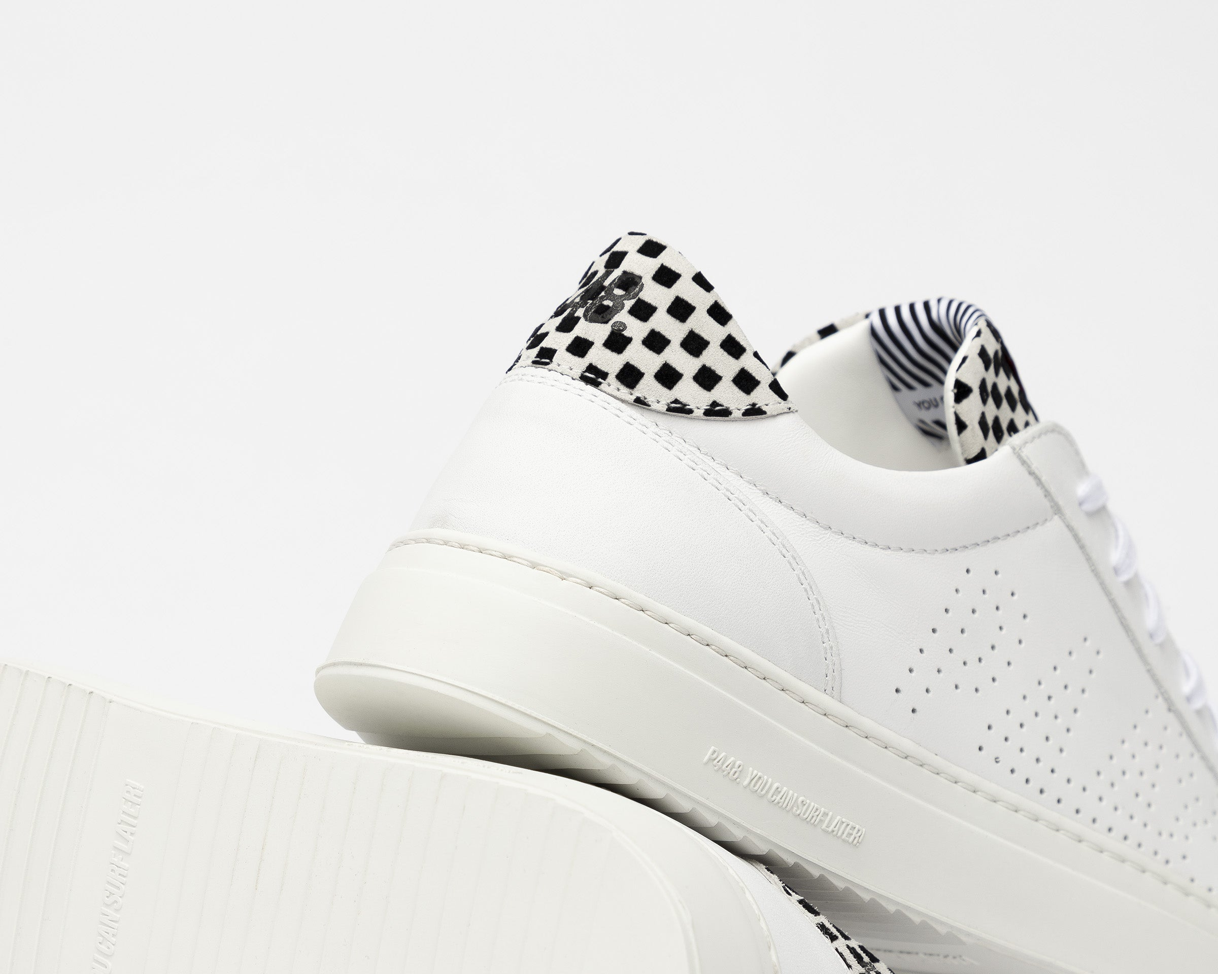 Soho Pull-on Sneaker in White Check - Detail 2
