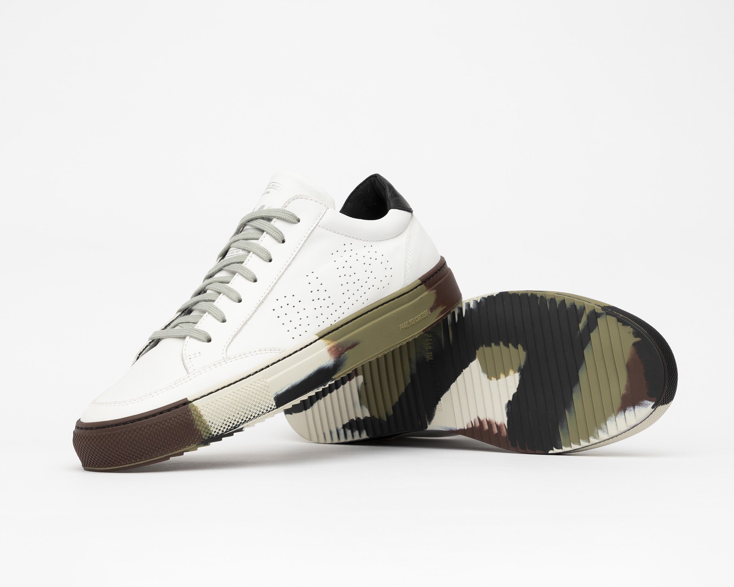 SohoP Low-Top Sneaker in White/Camo - Detail 2