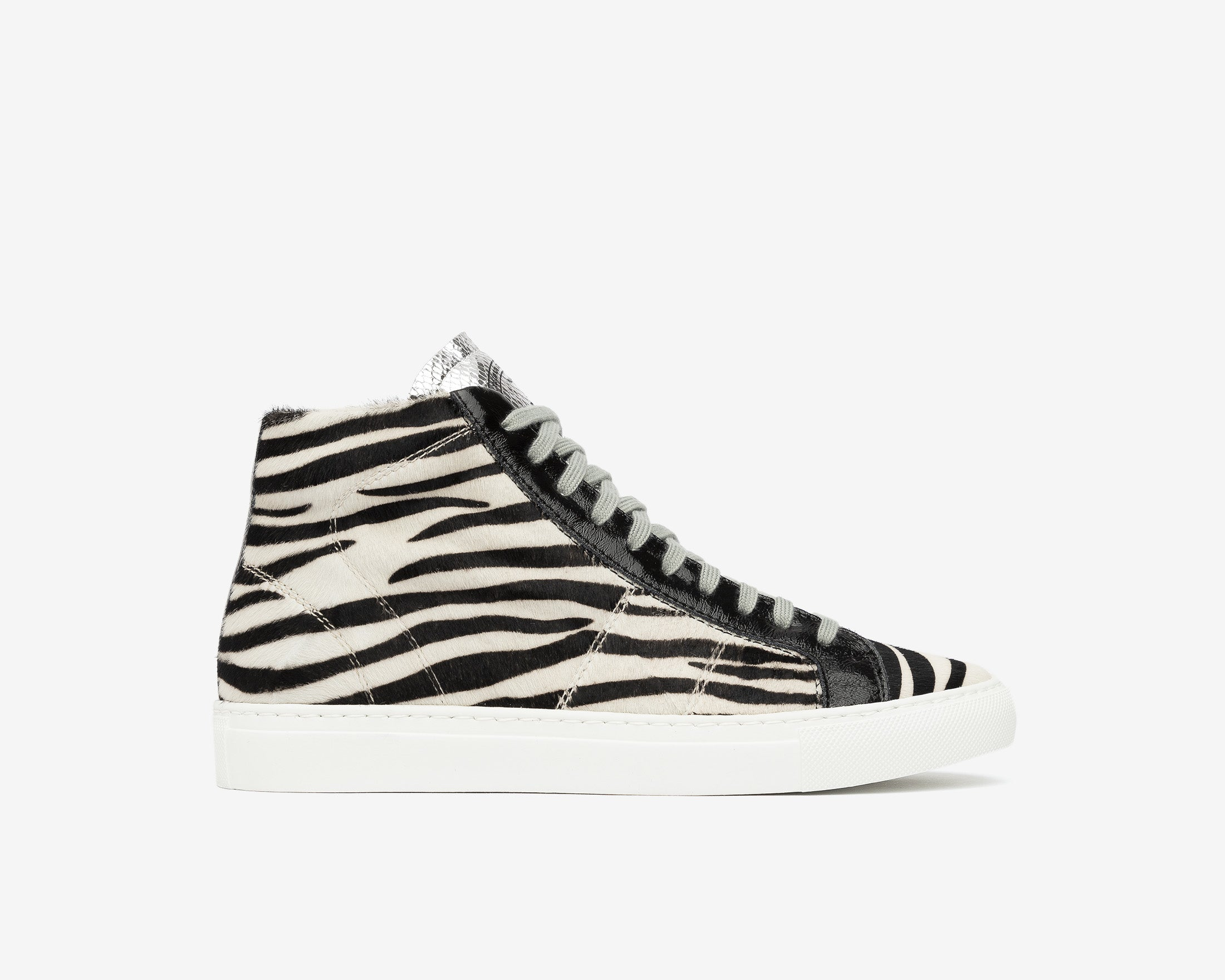 Star High-Top Sneaker in White/Black Zebra - Profile