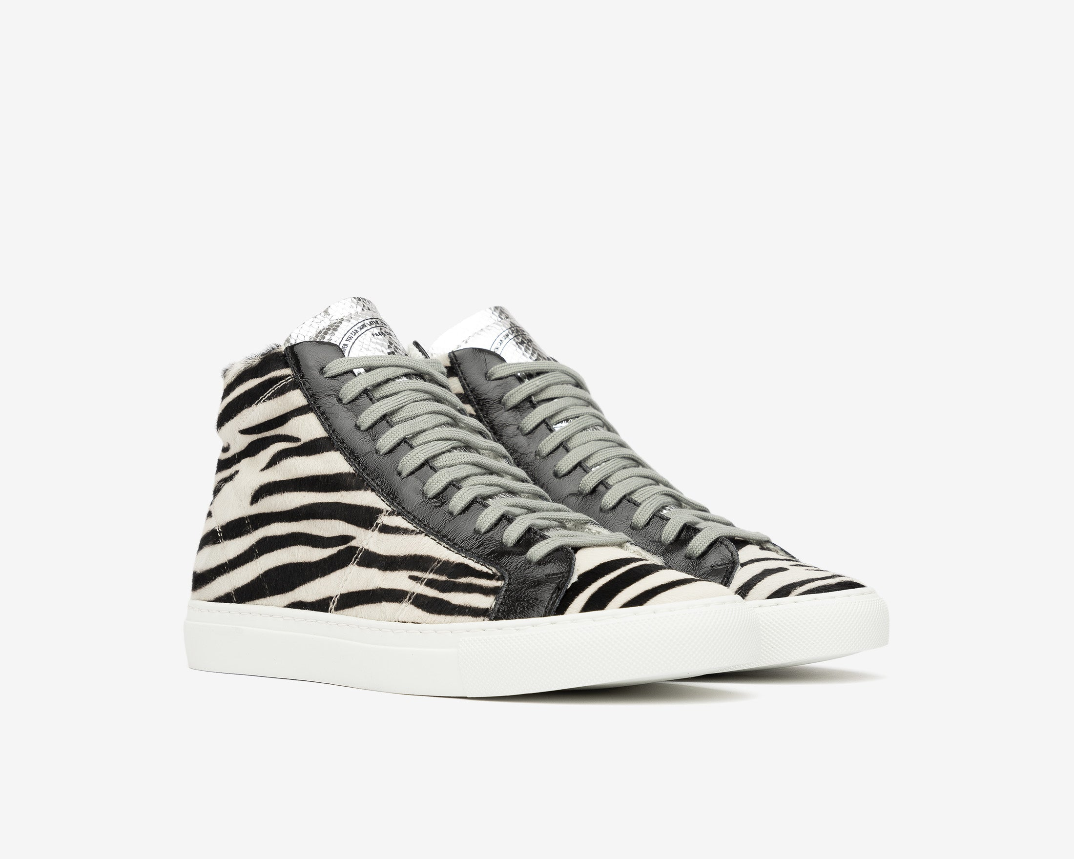 Star High-Top Sneaker in White/Black Zebra - Side