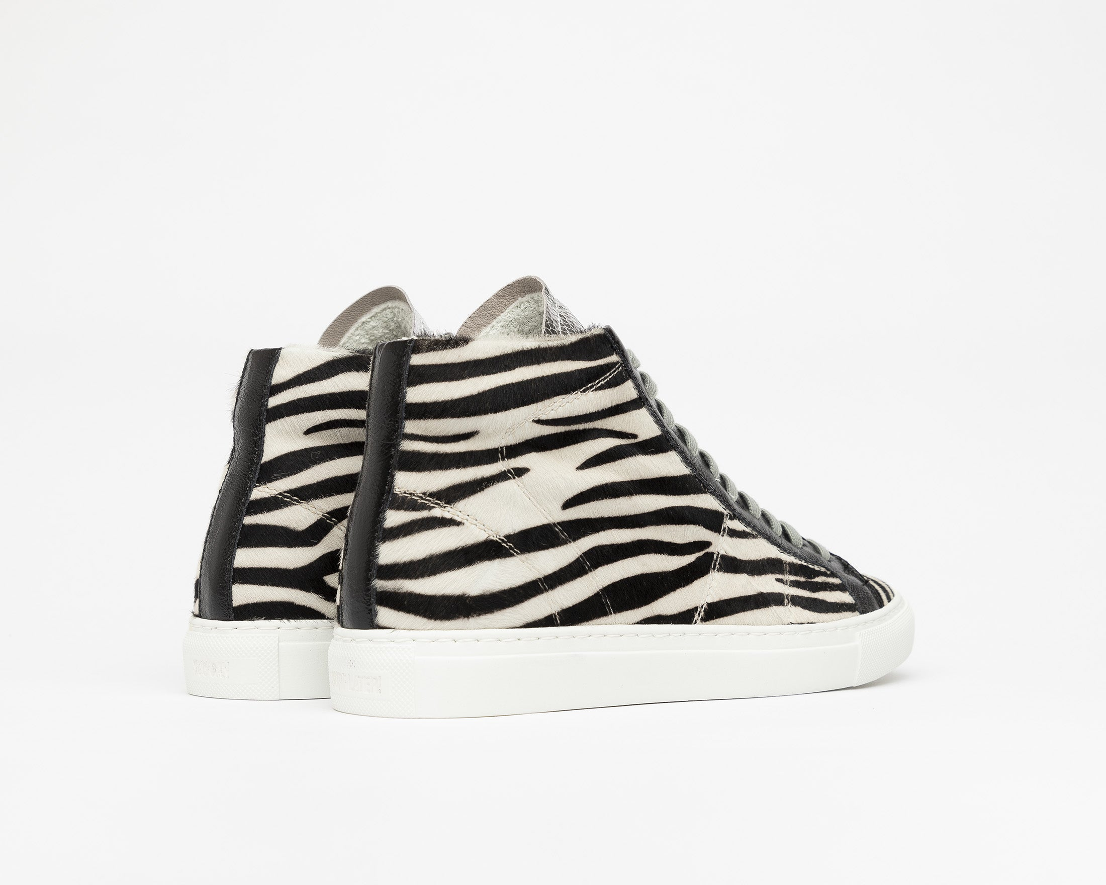 Star High-Top Sneaker in White/Black Zebra - Back