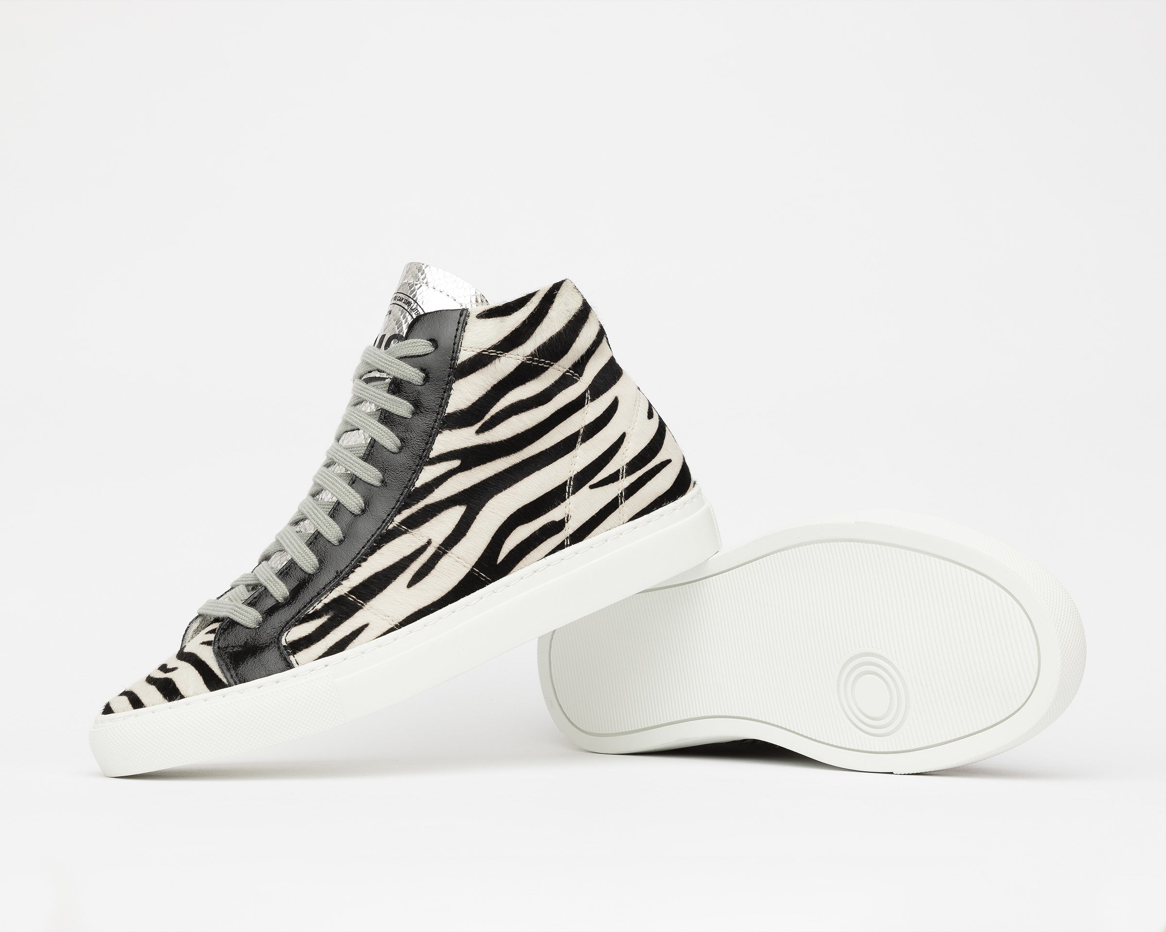 Star High-Top Sneaker in White/Black Zebra - Detail 1