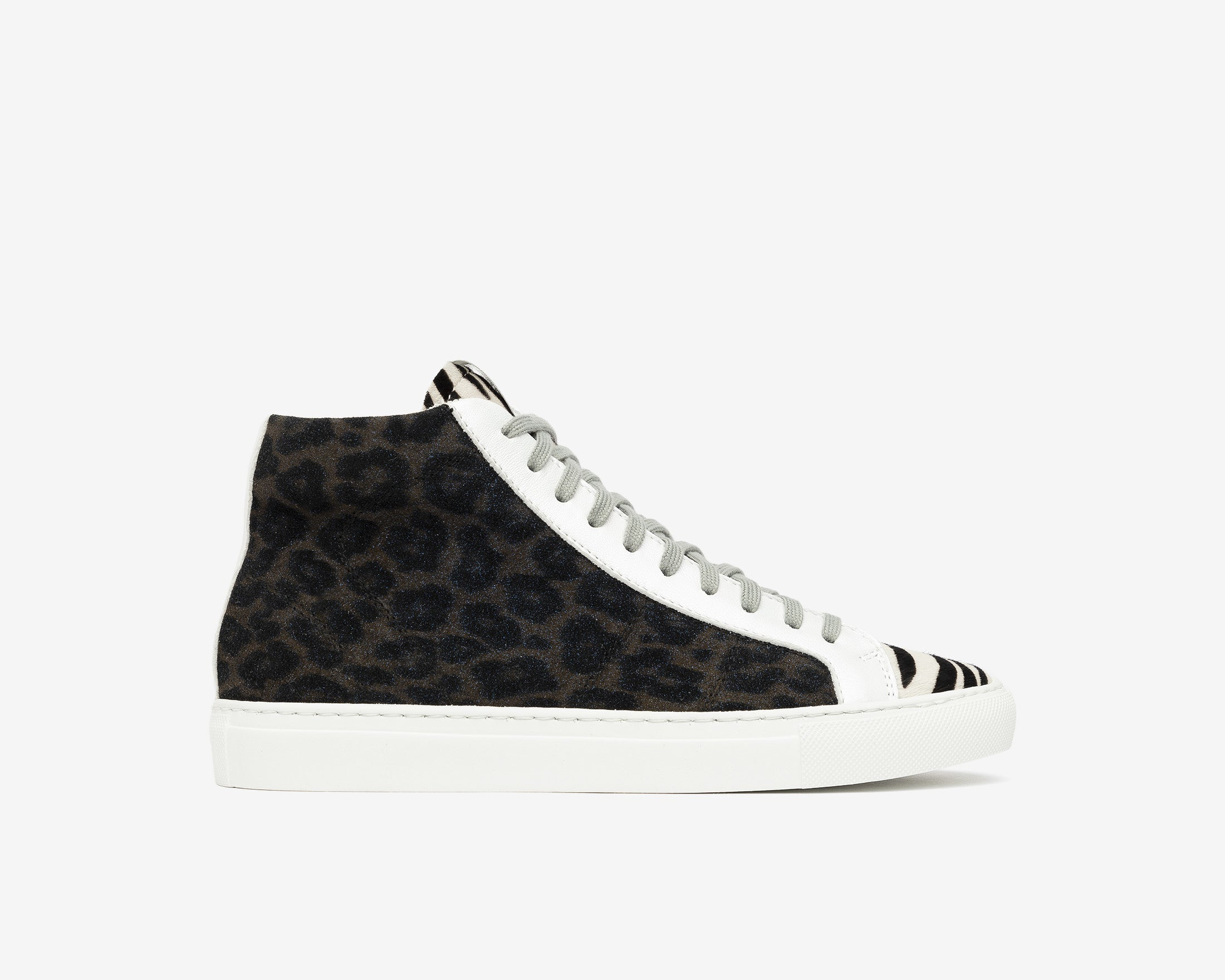 StarBS High-Top Sneaker in Leopard/Silver Glitter - Profile