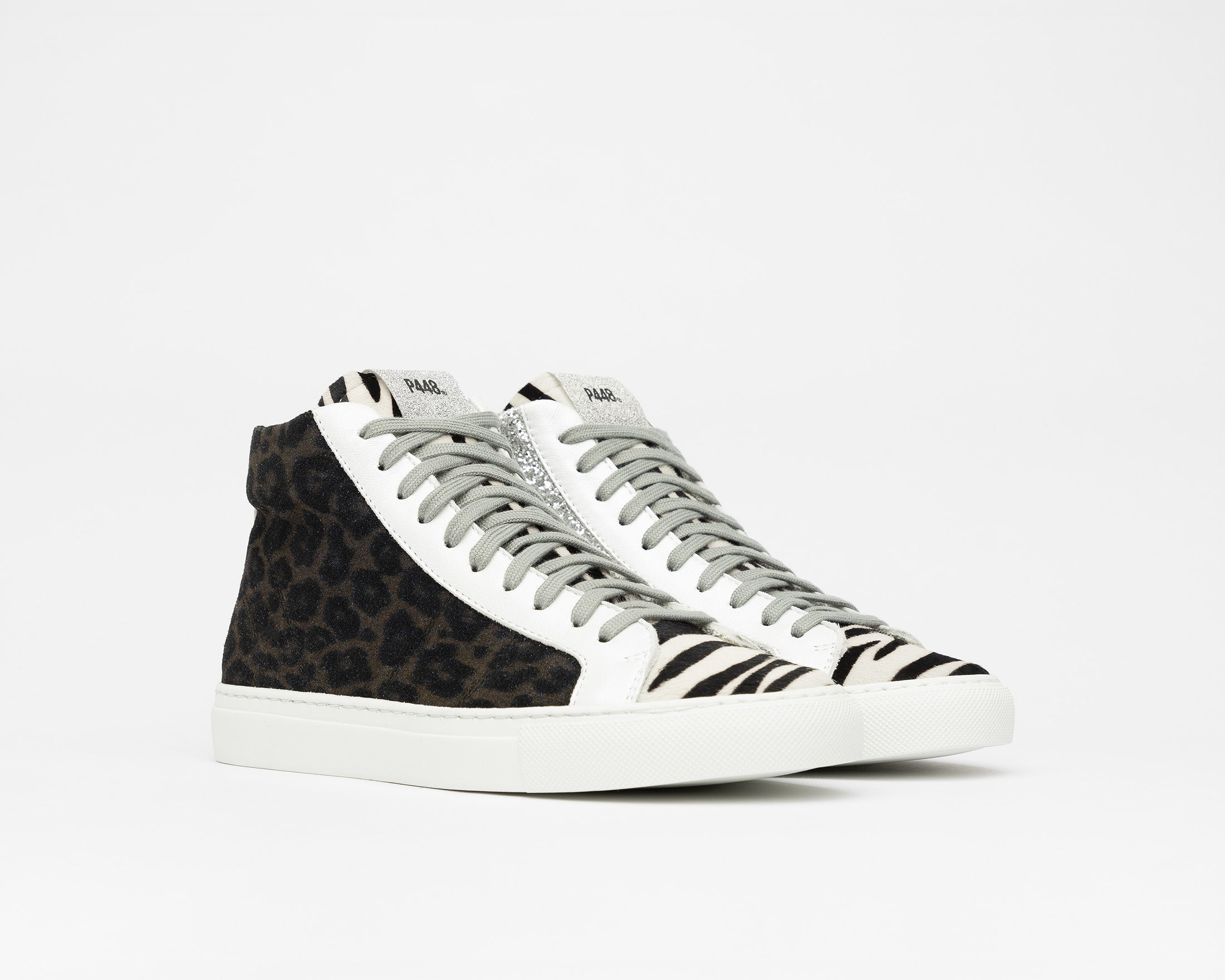 StarBS High-Top Sneaker in Leopard/Silver Glitter - Side