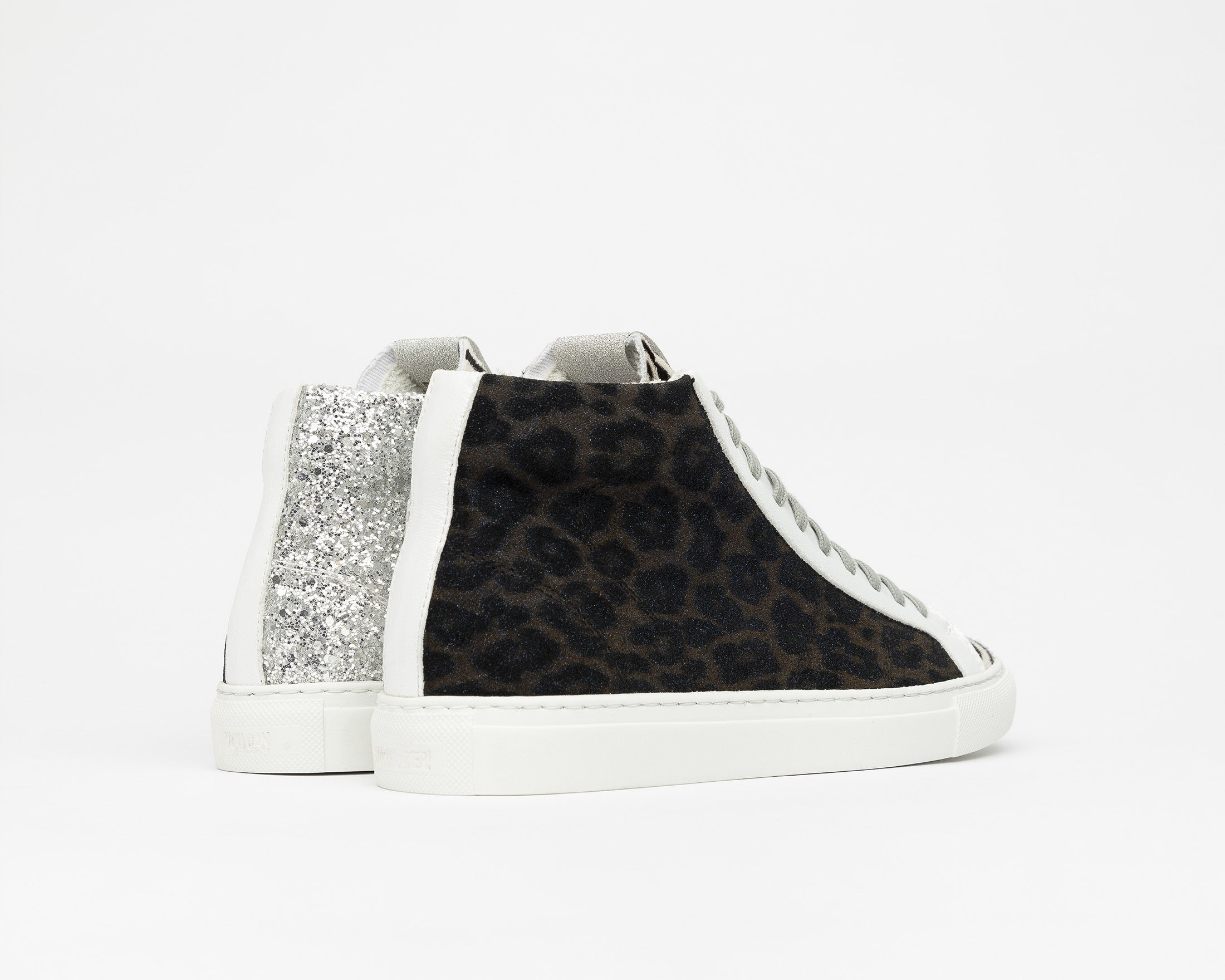 StarBS High-Top Sneaker in Leopard/Silver Glitter - Back