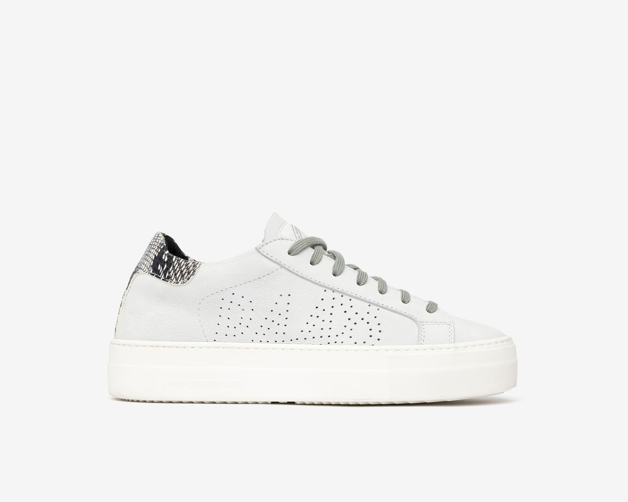 Thea Platform Sneaker in White/Twister Python - Profile