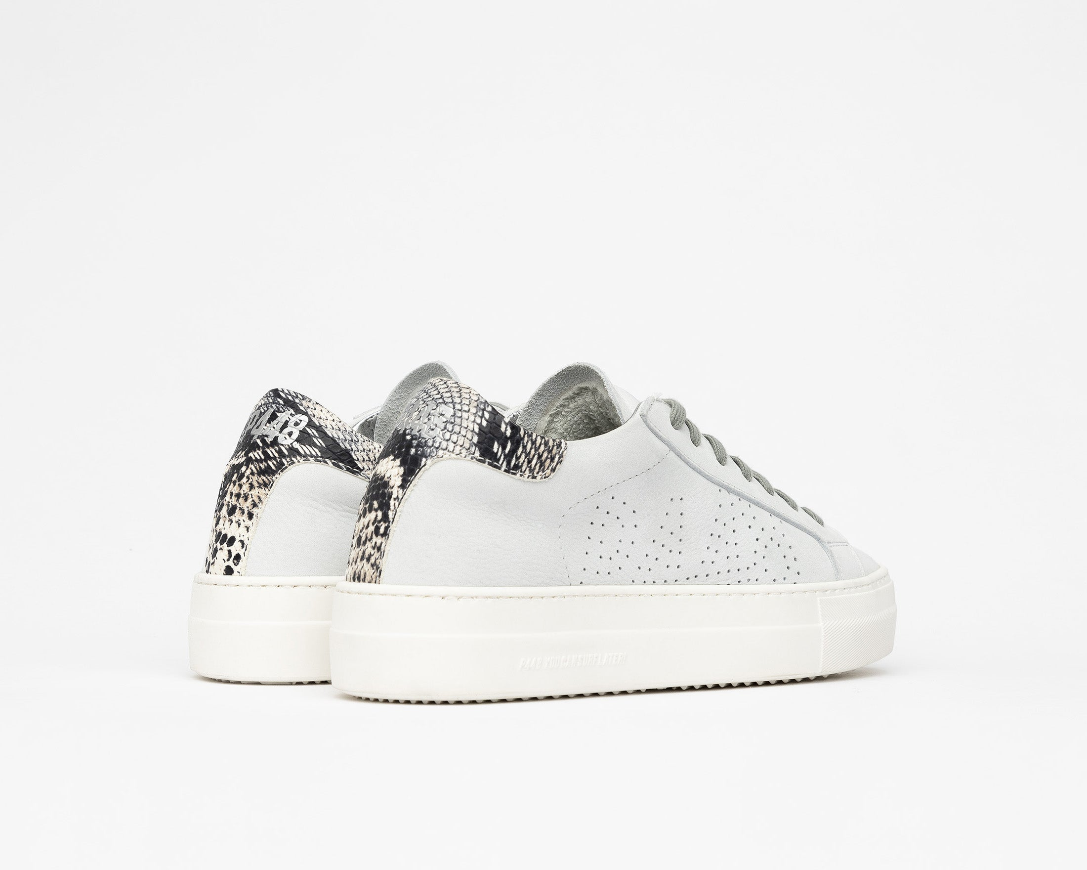 Thea Platform Sneaker in White/Twister Python - Back