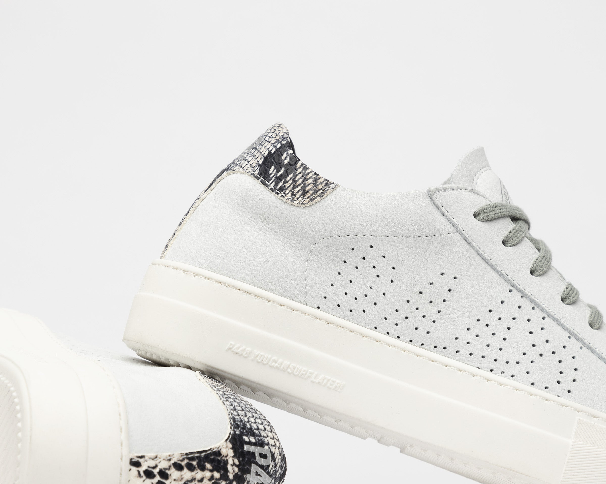 Thea Platform Sneaker in White/Twister Python - Detail