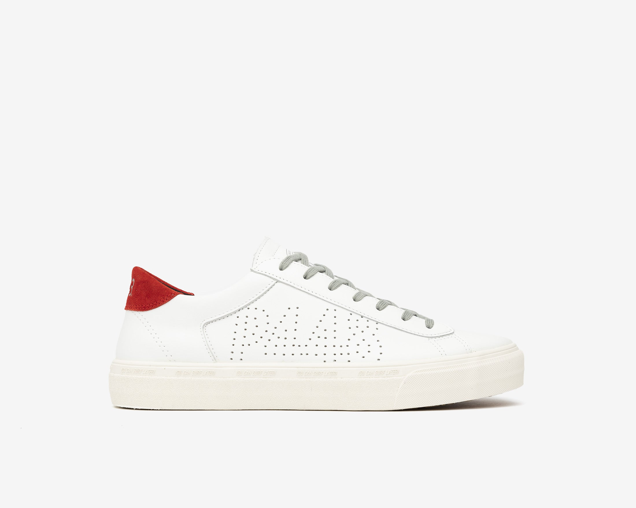 Y.C.S.L. Low-Top Volcanized Sneaker in White/Red - Profile