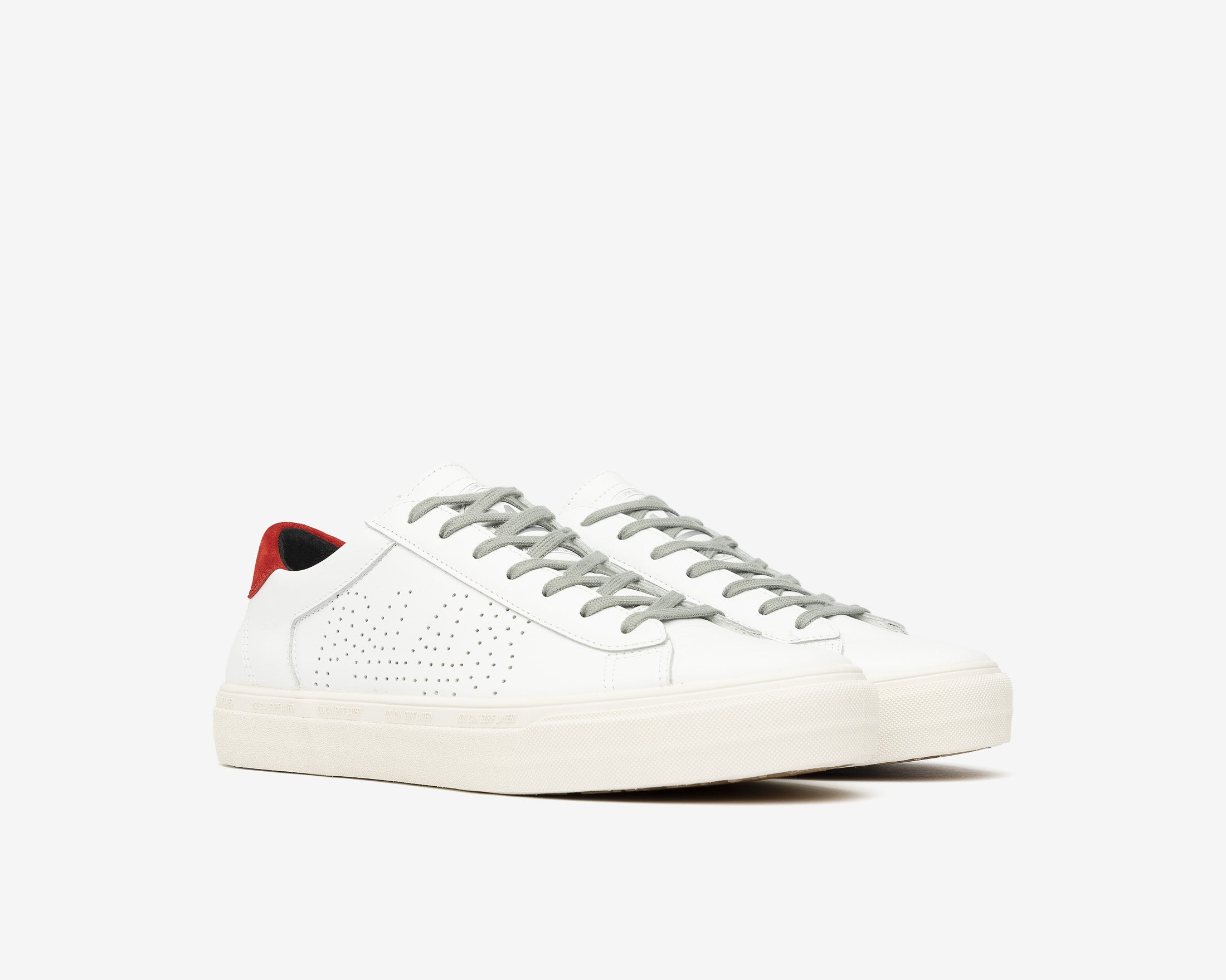 Y.C.S.L. Low-Top Volcanized Sneaker in White/Red - Side