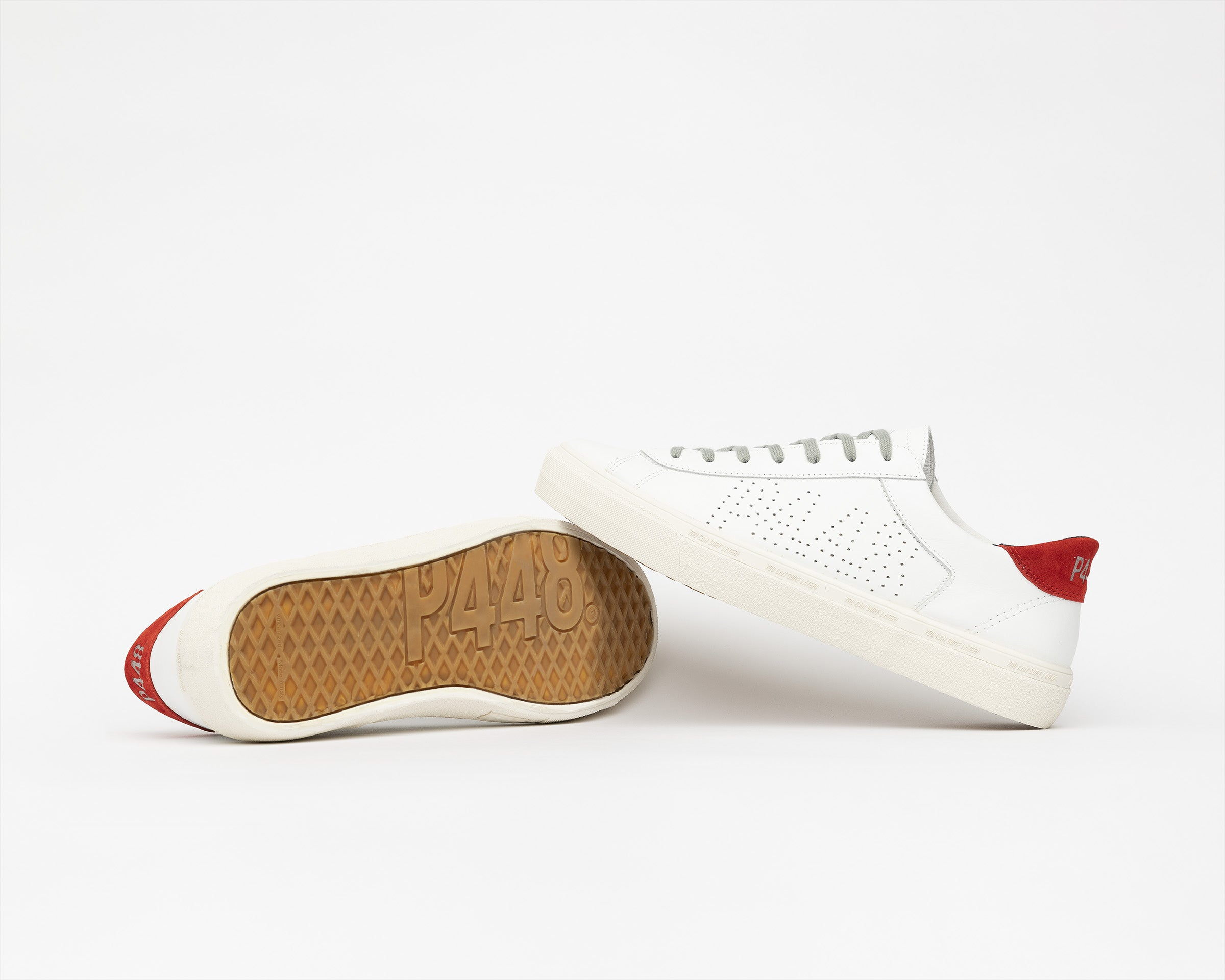 Y.C.S.L. Low-Top Volcanized Sneaker in White/Red - Detail 1